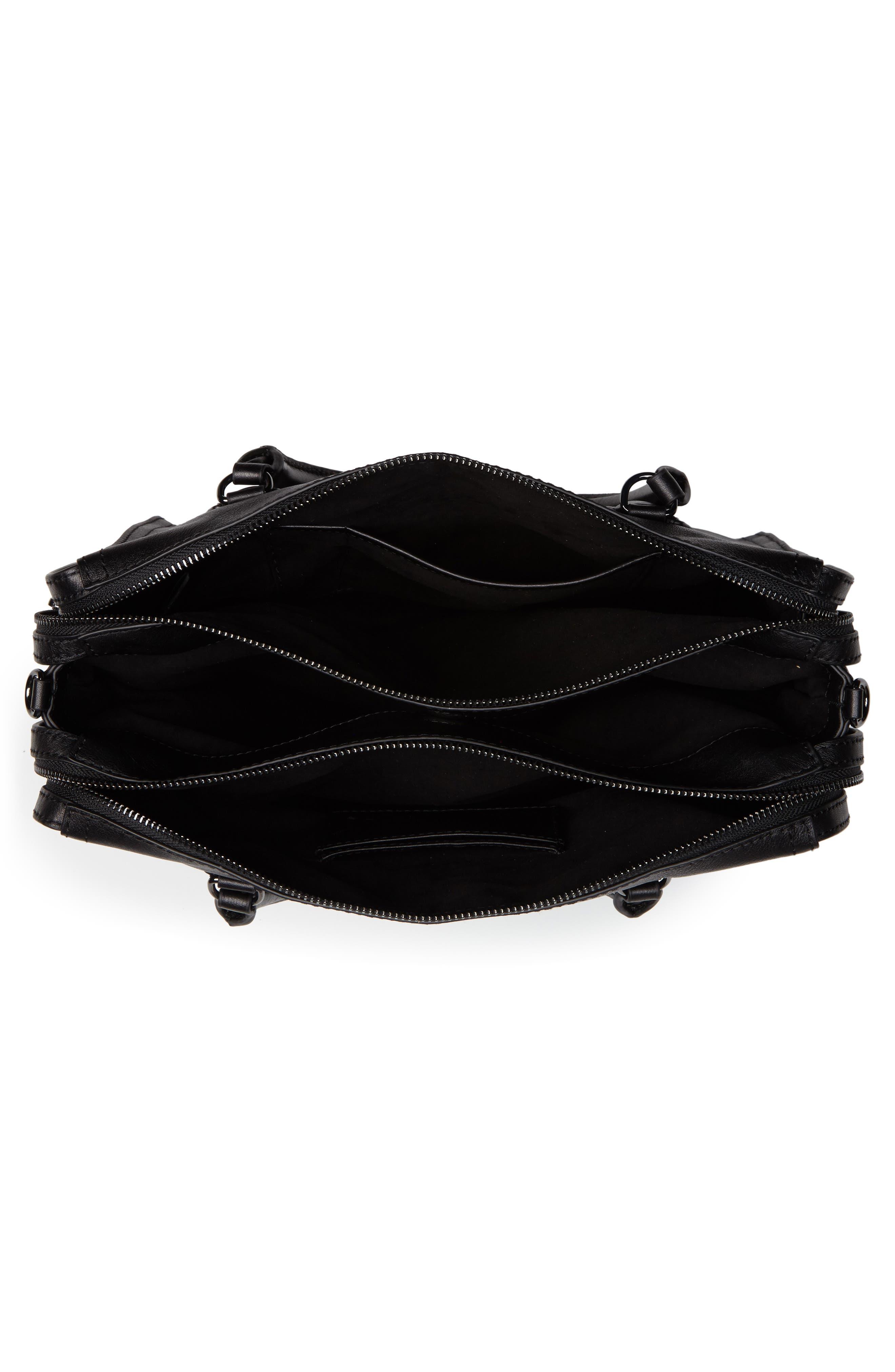 Moto Leather Top Handle Satchel,                             Alternate thumbnail 4, color,                             BLACK