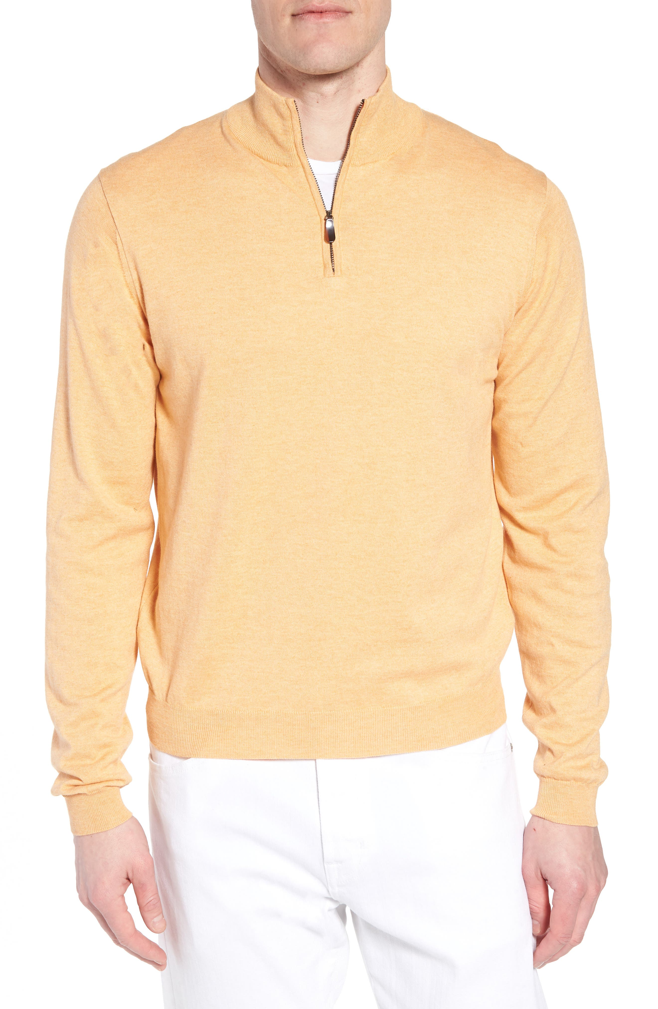 Cotton & Silk Quarter Zip Pullover,                         Main,                         color, 830