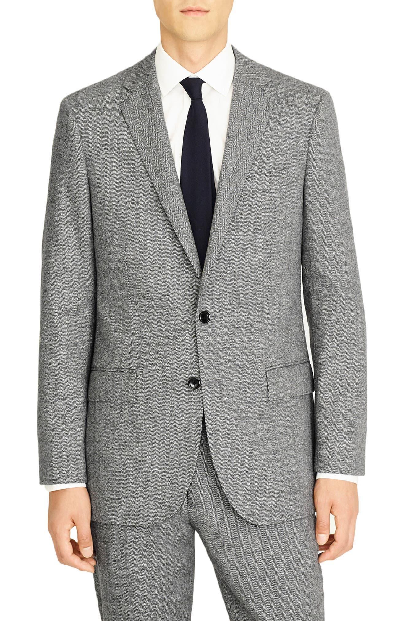 J.CREW Ludlow Slim Fit Herringbone Wool Blend Suit Jacket in Grey Herringbone