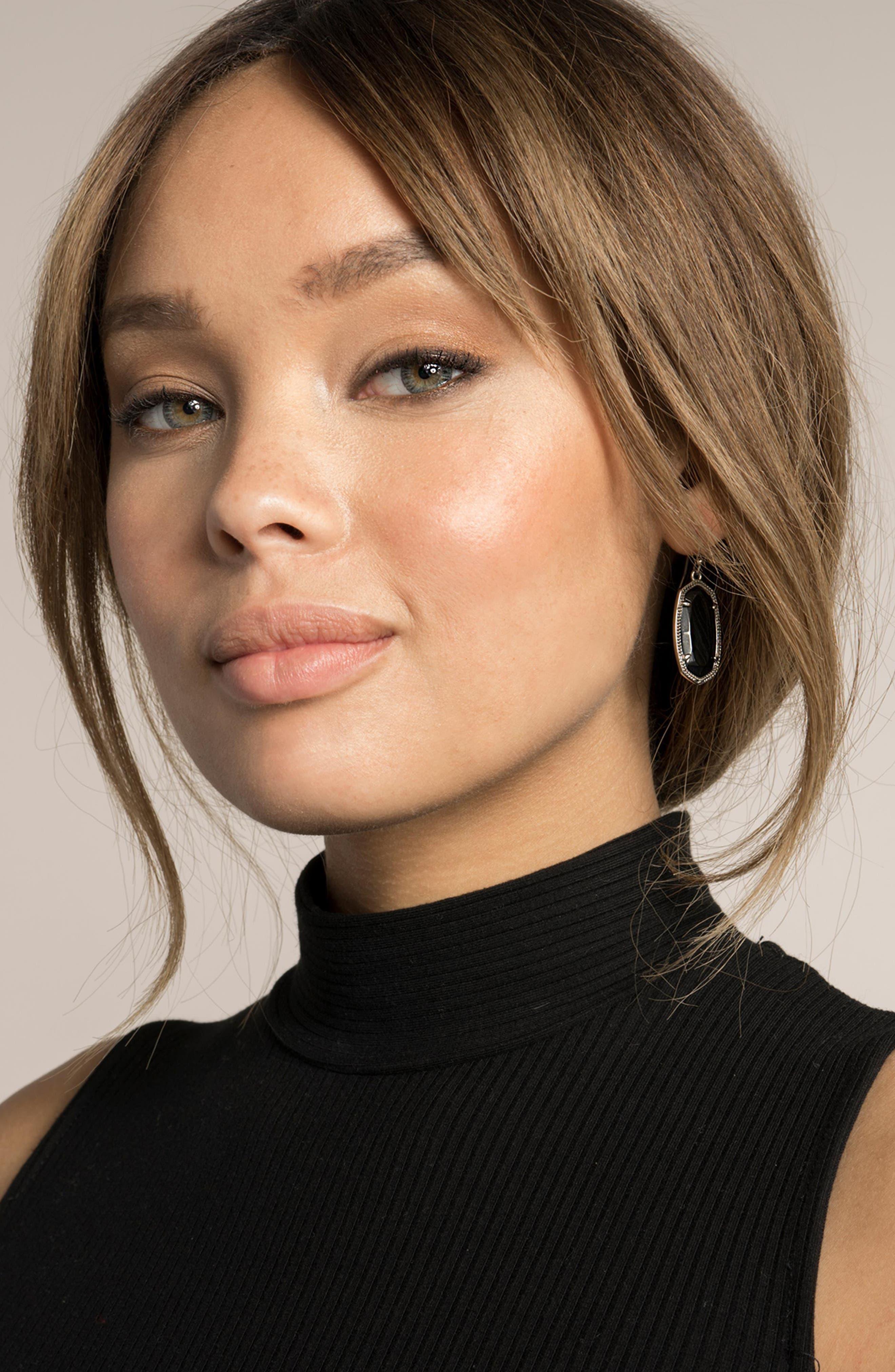 Elle Filigree Drop Earrings,                             Alternate thumbnail 3, color,                             BLACK/ GOLD