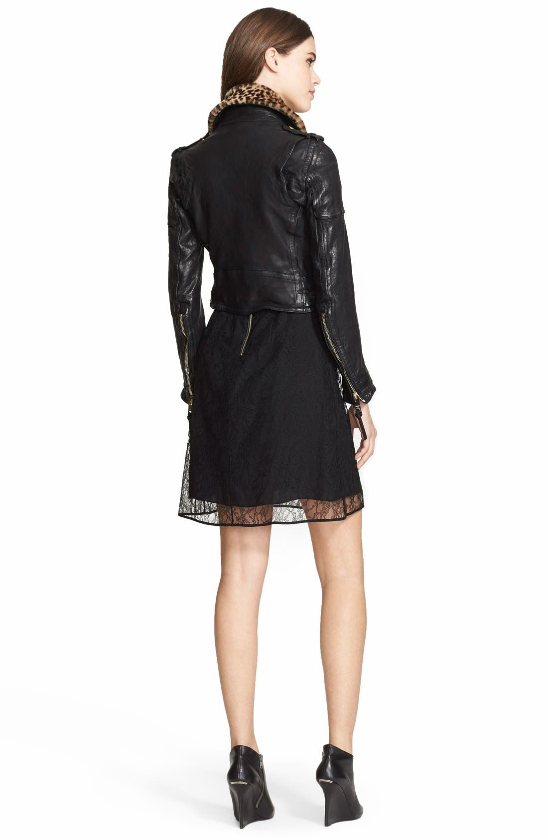 Leather Biker Jacket with Removable Genuine Shearling Collar,                             Alternate thumbnail 3, color,                             001