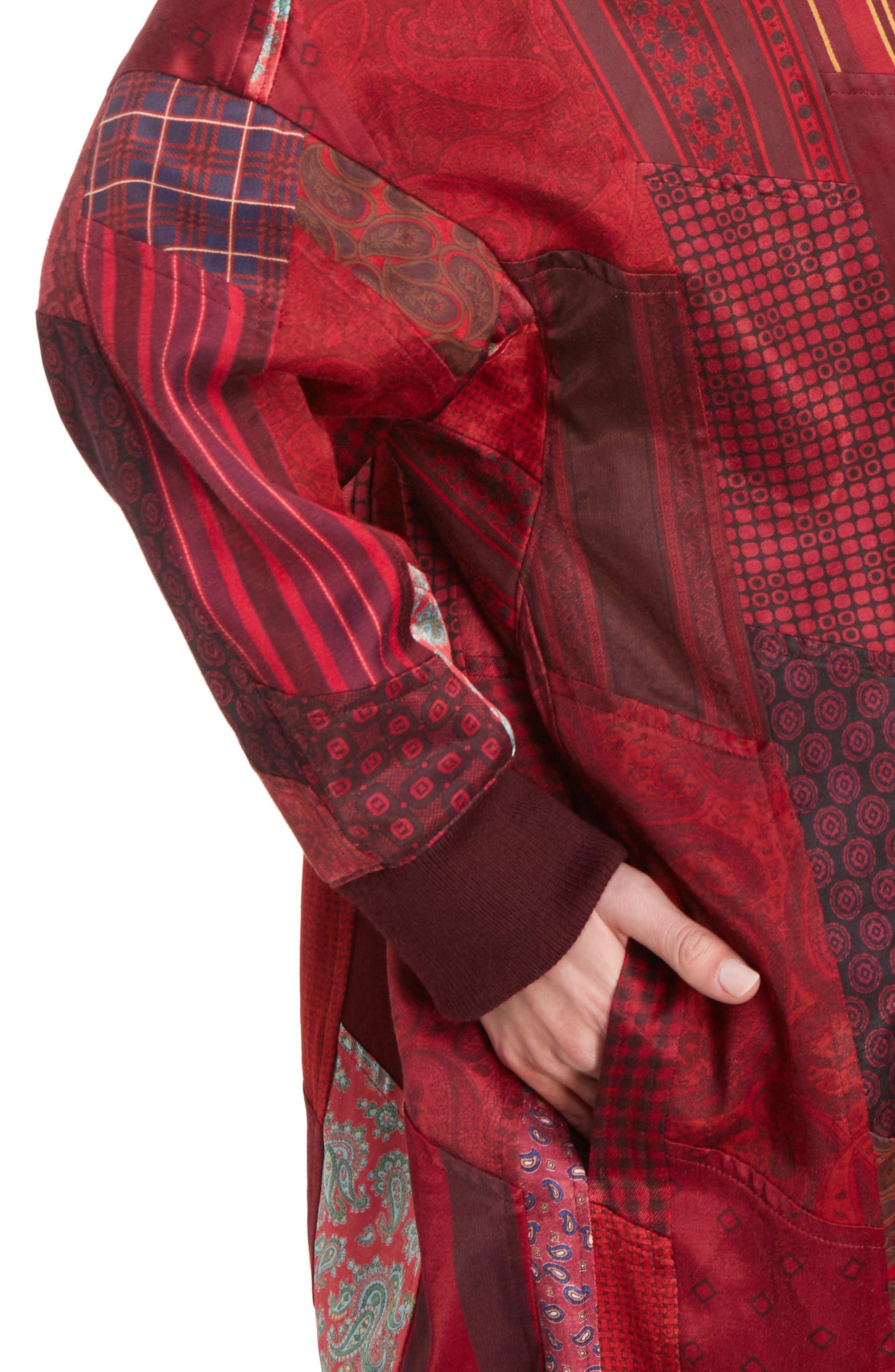 K Collarless Patchwork Coat,                             Alternate thumbnail 4, color,                             930