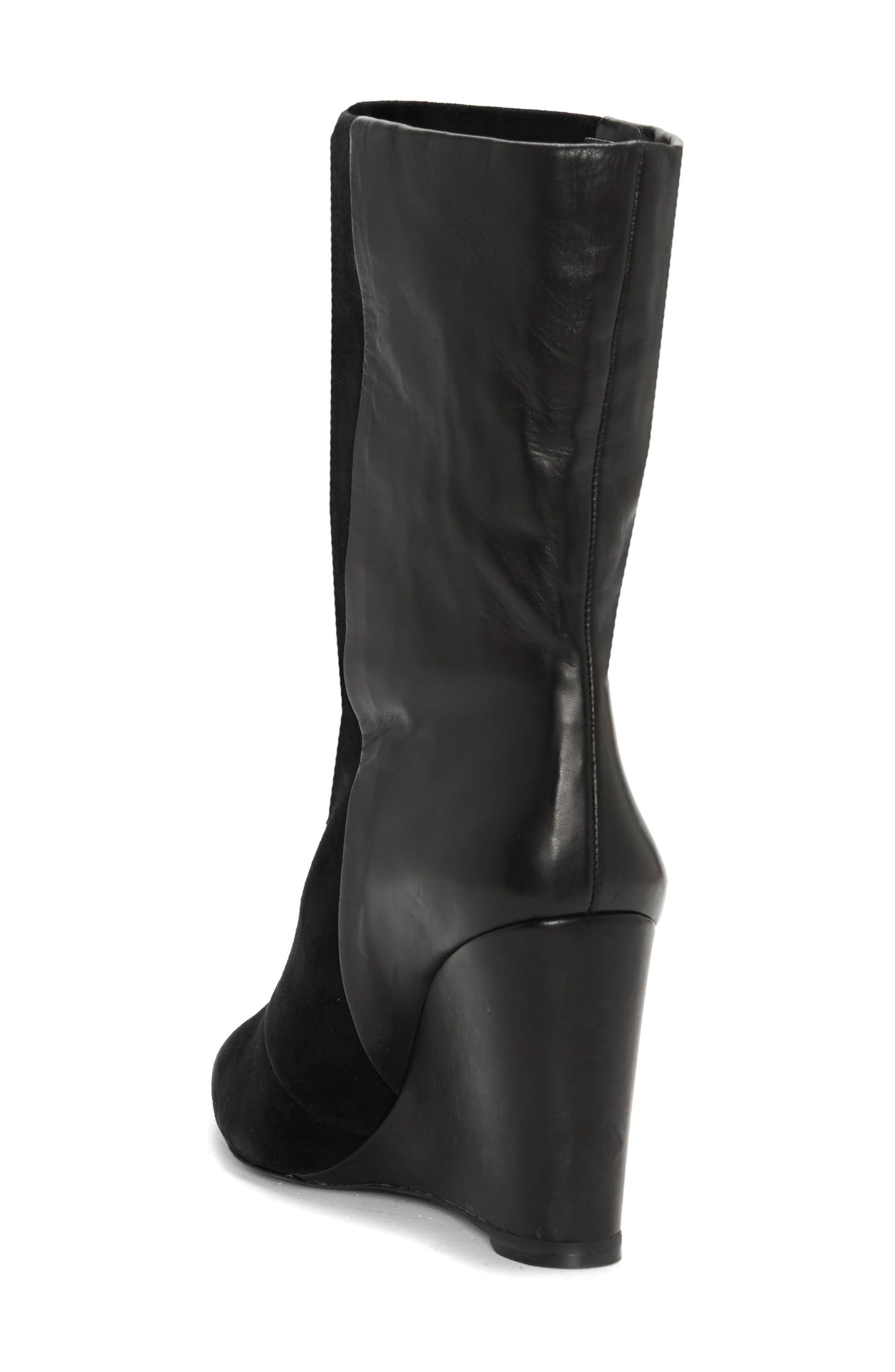 Zalena Wedge Boot,                             Alternate thumbnail 2, color,                             BLACK SUEDE