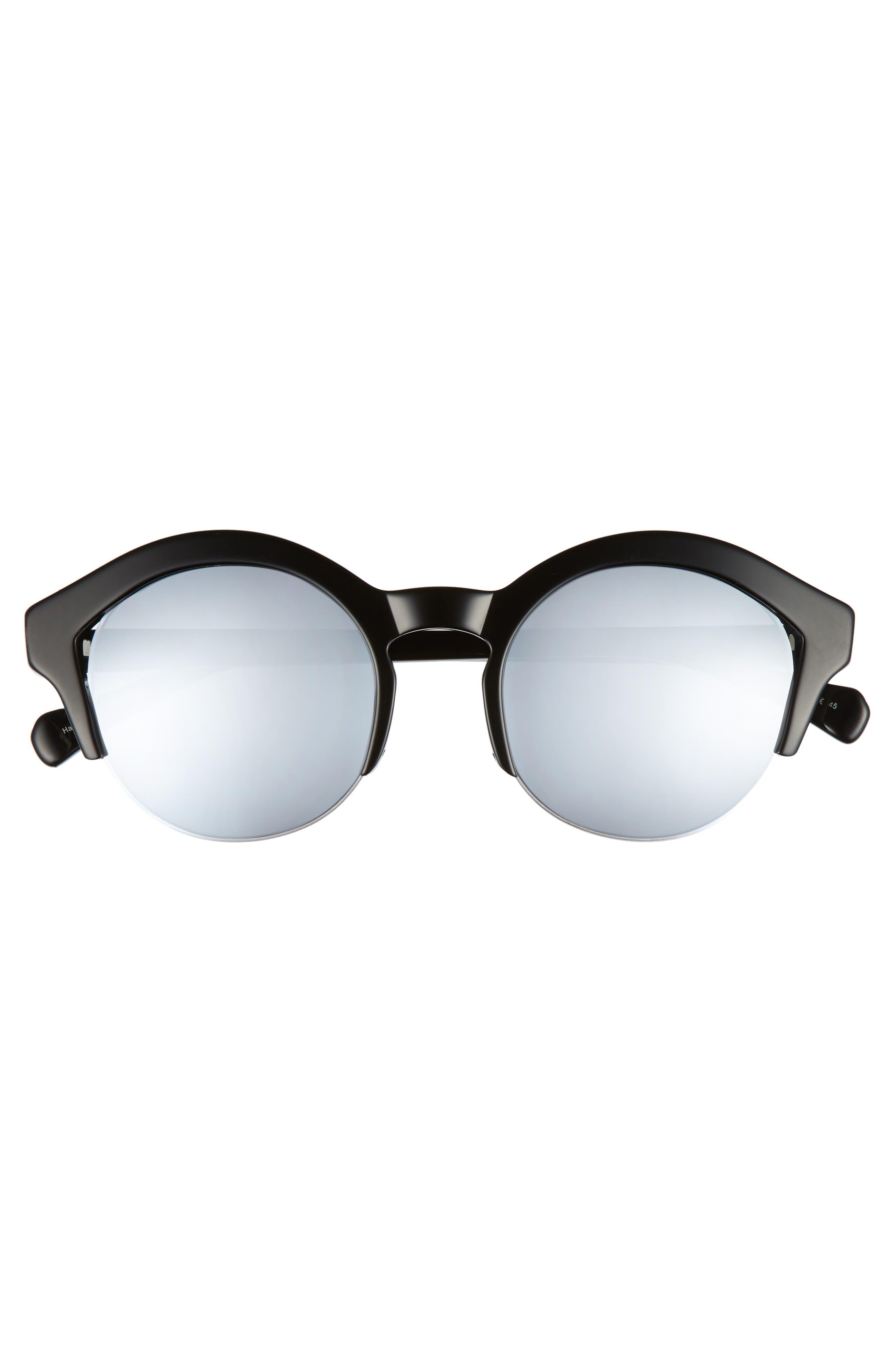 Bren 51mm Half-Rim Sunglasses,                             Alternate thumbnail 3, color,                             BLACK/ SILVER