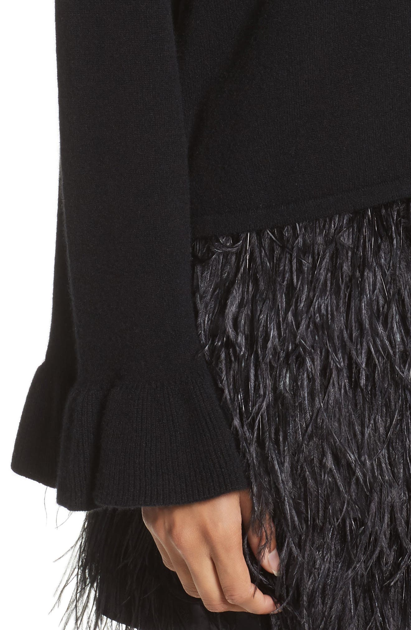Flare Sleeve Cashmere Sweater,                             Alternate thumbnail 8, color,