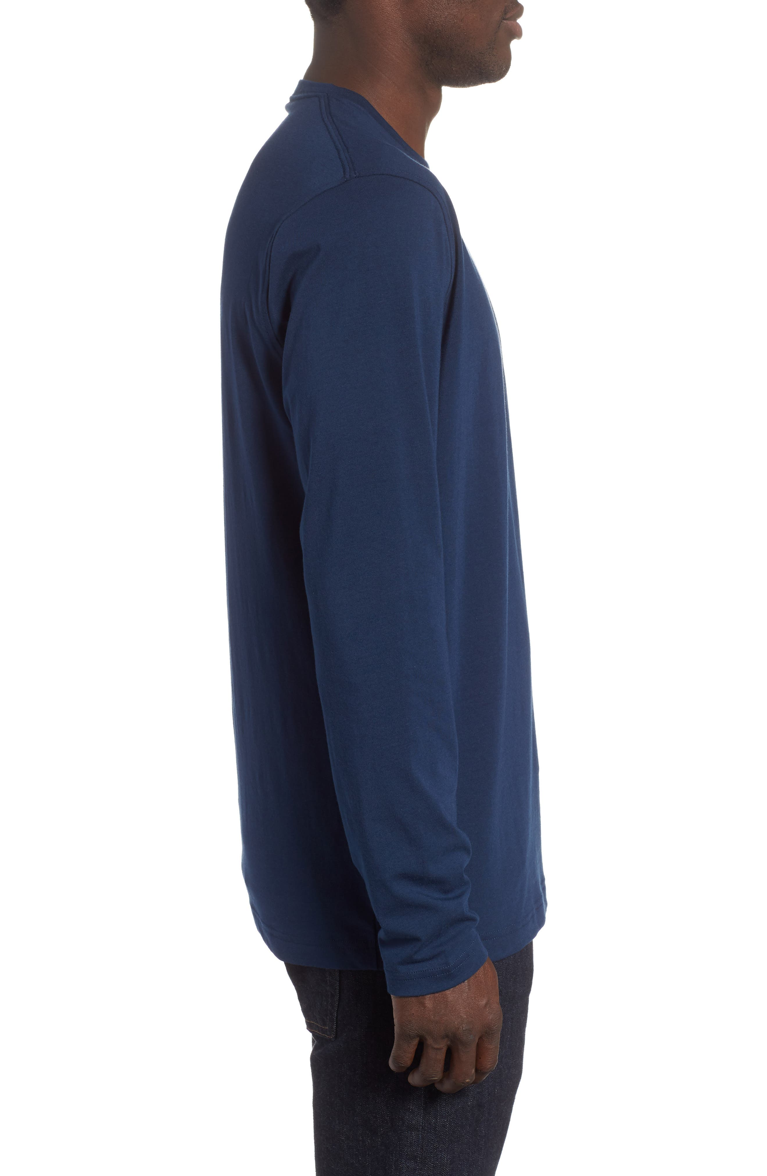 HeatGear<sup>®</sup> Long Sleeve Performance T-Shirt,                             Alternate thumbnail 3, color,                             ACADEMY/ ROYAL