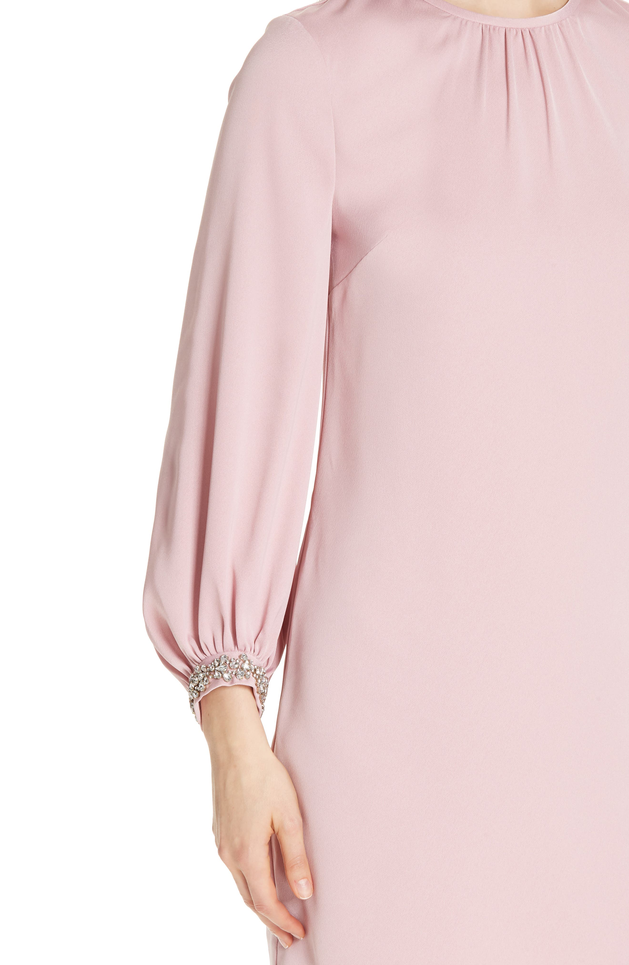 Joele Embellished Cuff Shift Dress,                             Alternate thumbnail 4, color,                             DUSKY PINK