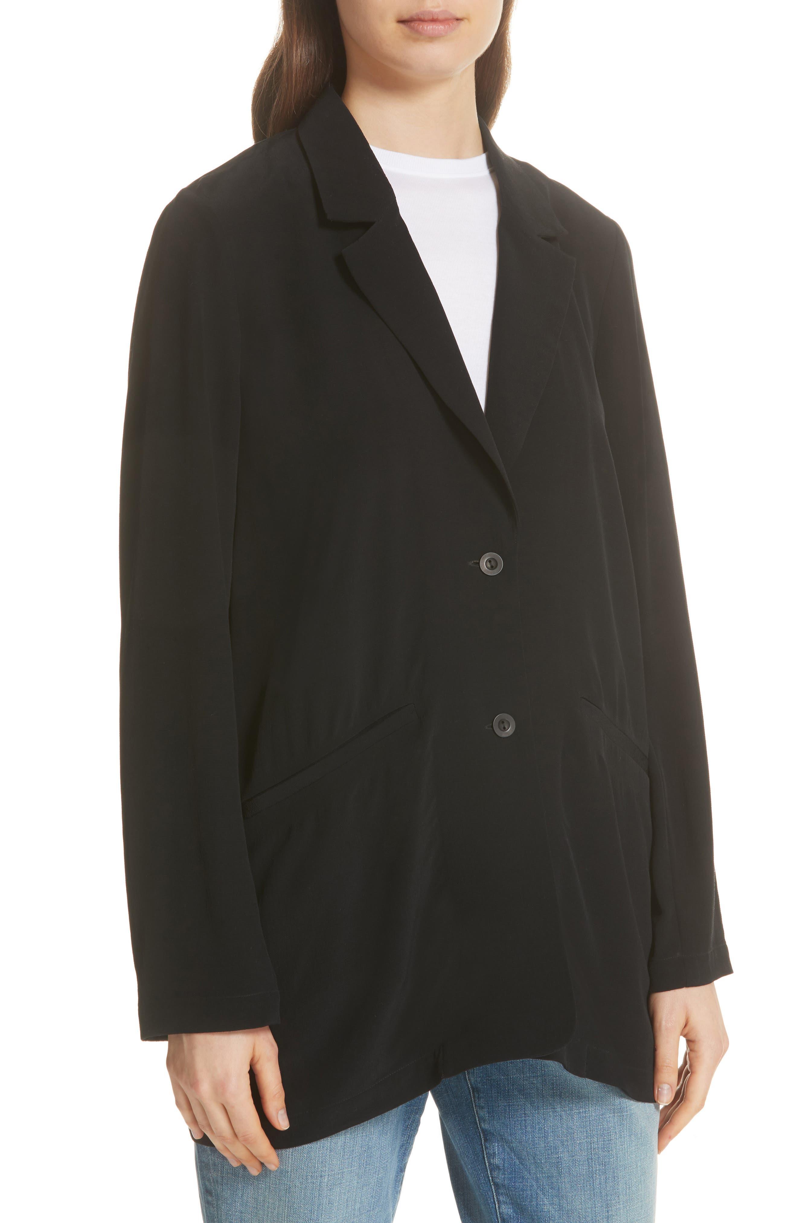 Long Notch Collar Jacket,                             Alternate thumbnail 4, color,                             001