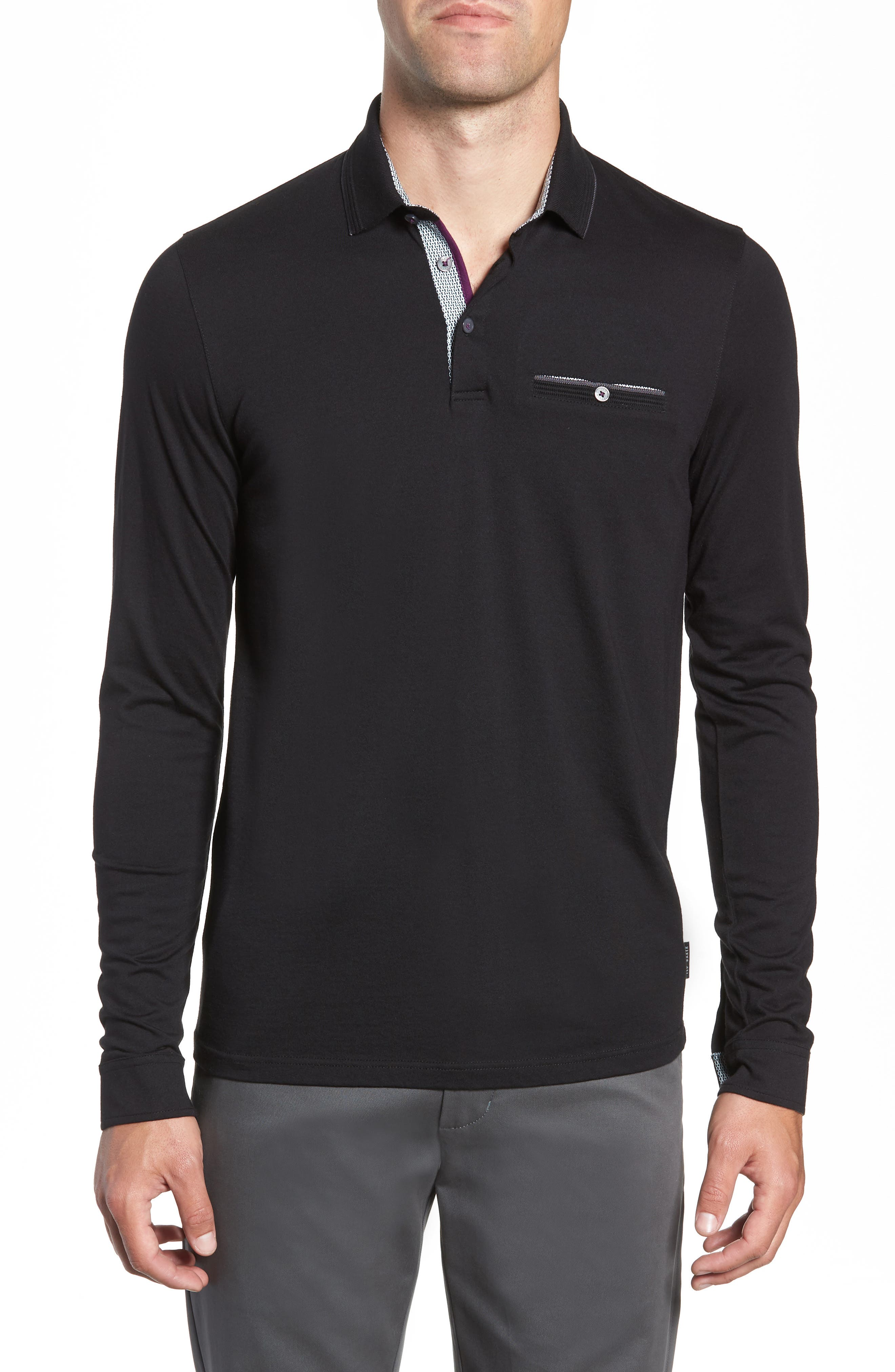 Loomie Slim Fit Tipped Long Sleeve Polo,                             Main thumbnail 1, color,                             BLACK
