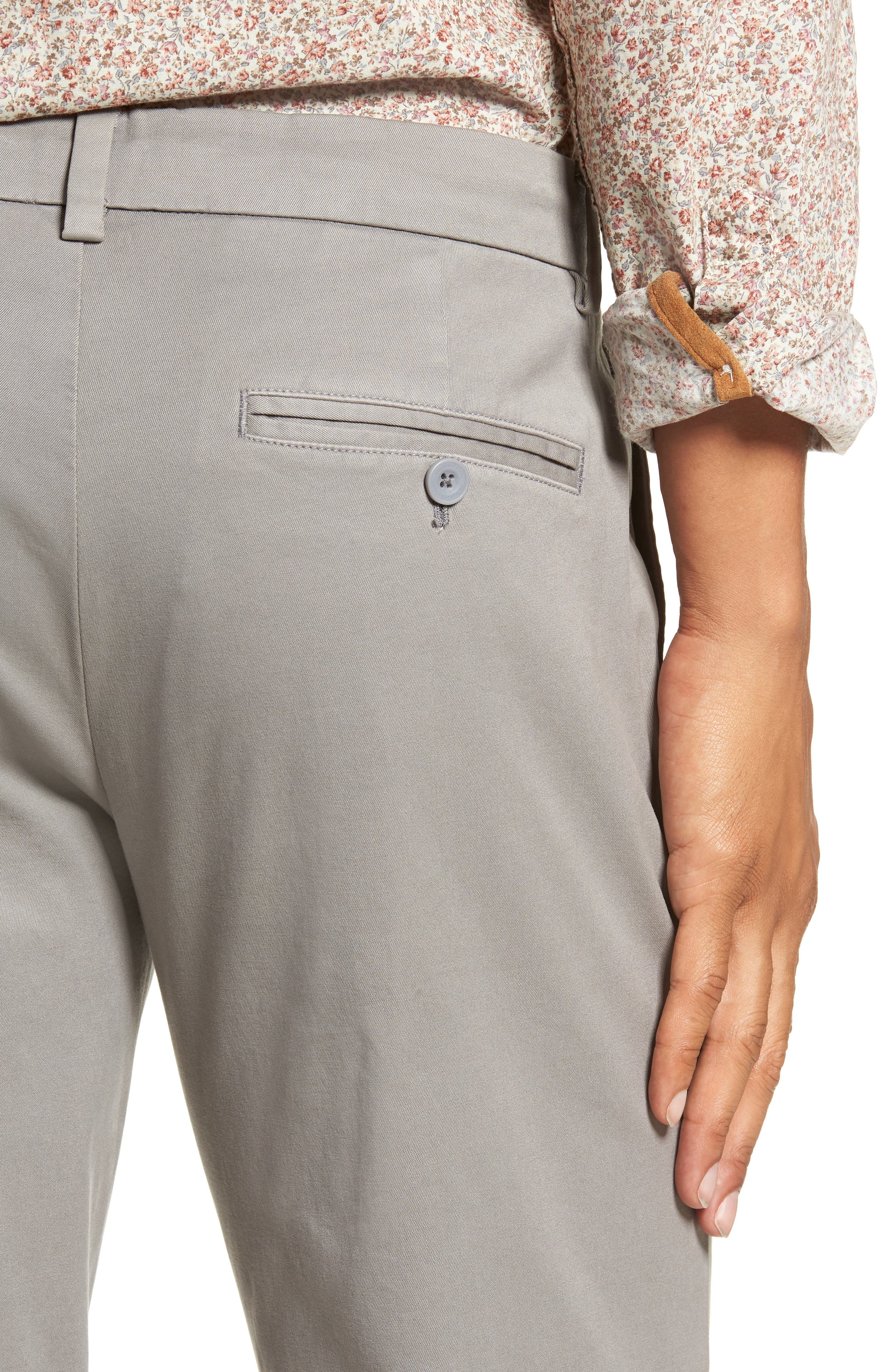 Stretch Slim Fit Pants,                             Alternate thumbnail 4, color,                             ANCHOR GREY