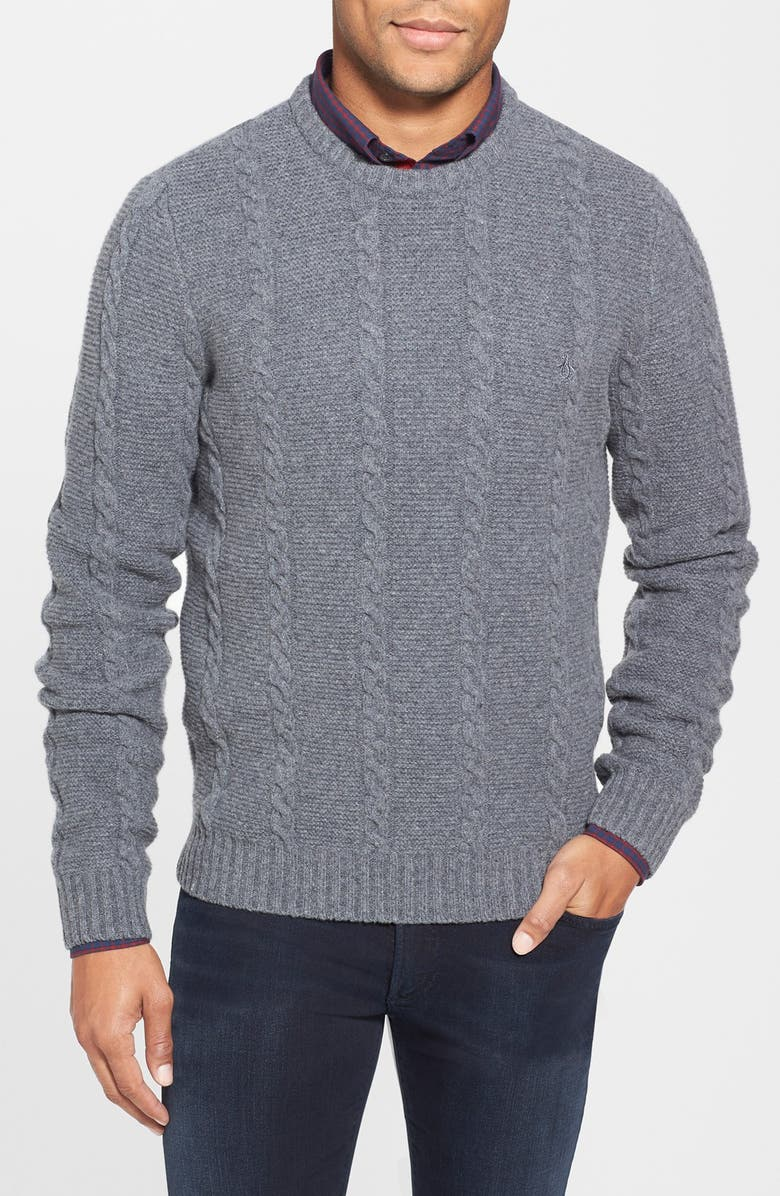 f132d720f Original Penguin Cable Knit Lambswool Crewneck Sweater