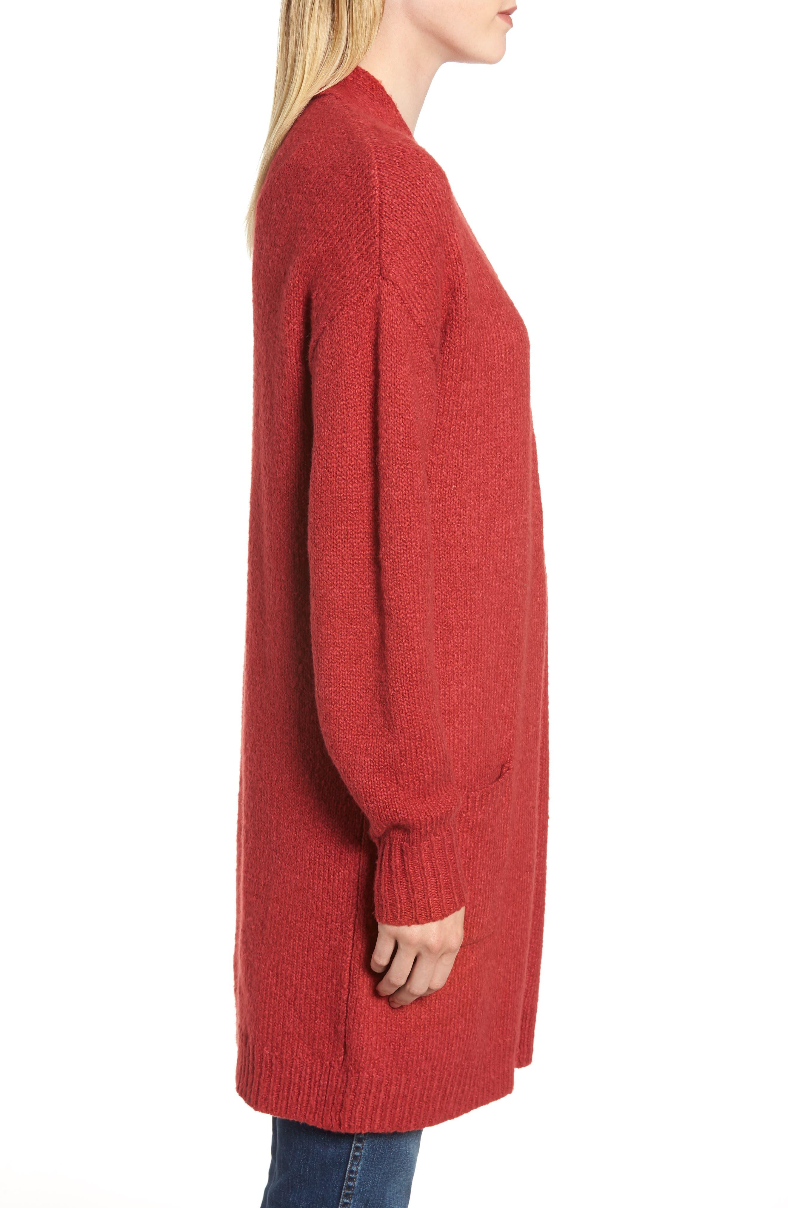 Cotton Blend Cardigan,                             Alternate thumbnail 3, color,                             RED