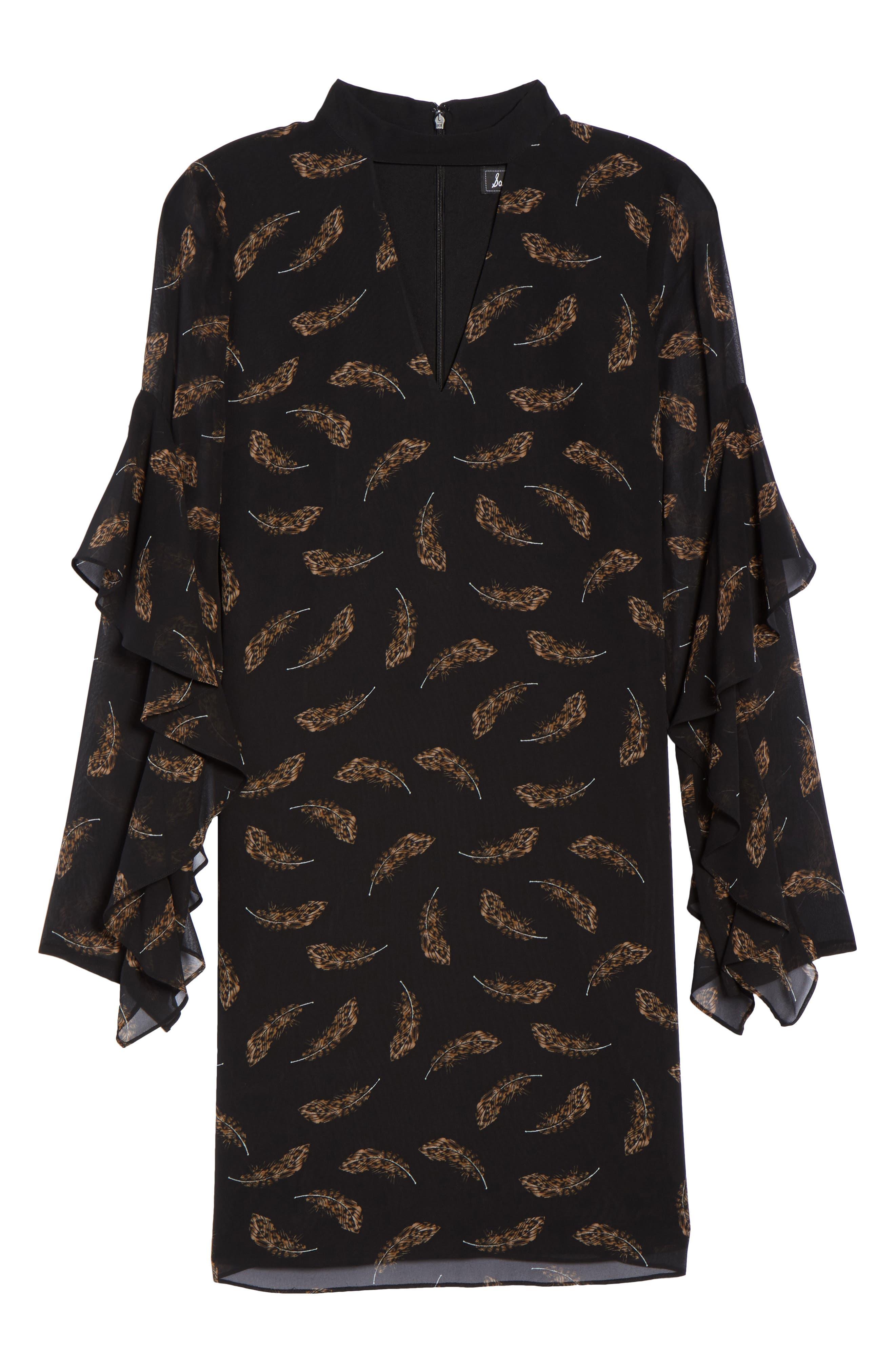 Feather Print Choker Collar Dress,                             Alternate thumbnail 6, color,                             007