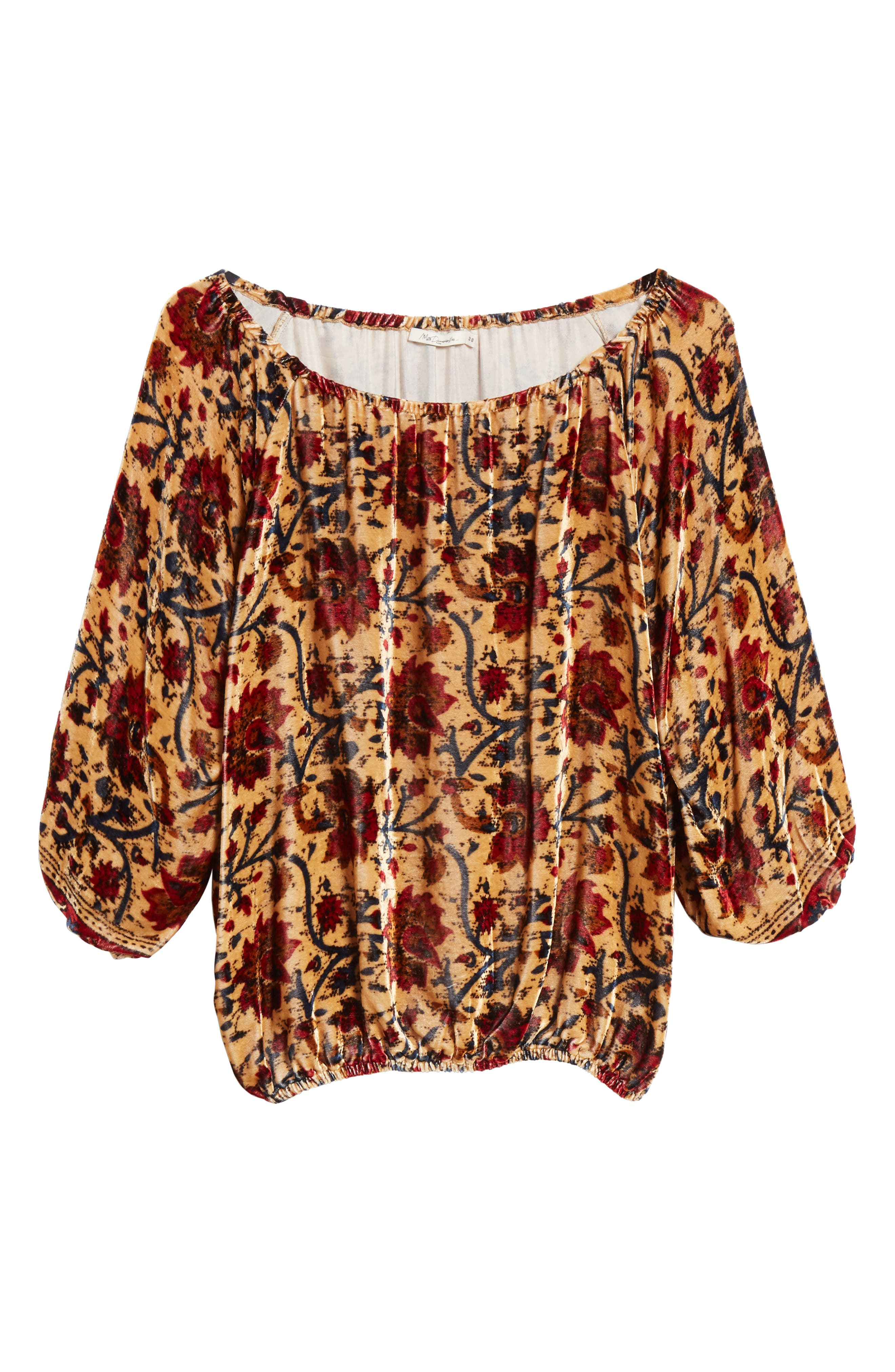 Cherie Velvet Blouse,                             Alternate thumbnail 6, color,                             FLORAL MULTI