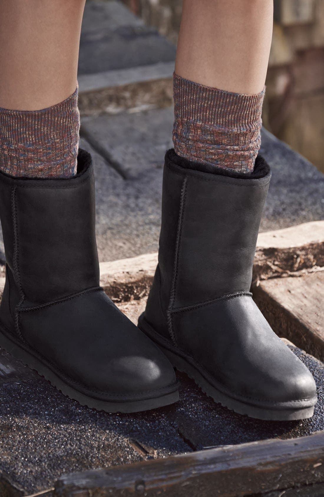 'Classic Short' Leather Water Resistant Boot,                             Alternate thumbnail 5, color,                             001
