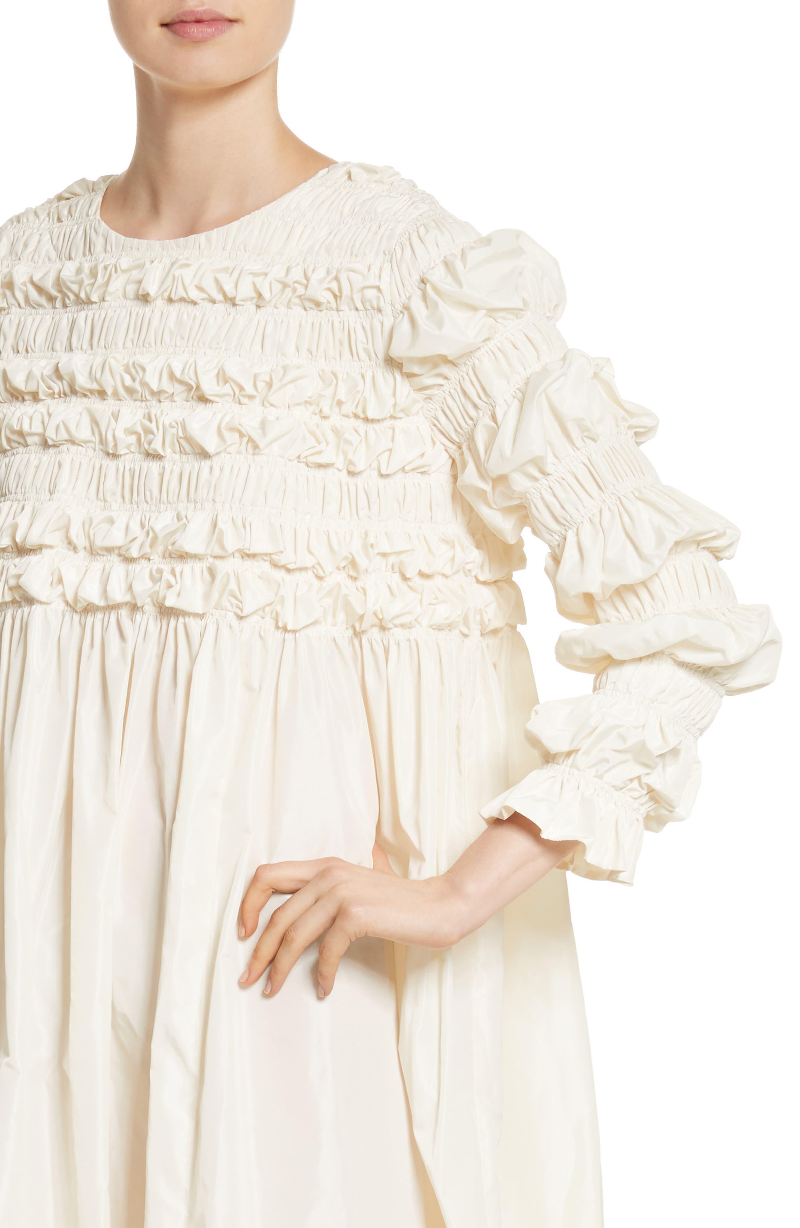 Lizzie Ruffled Taffeta Dress,                             Alternate thumbnail 4, color,                             900