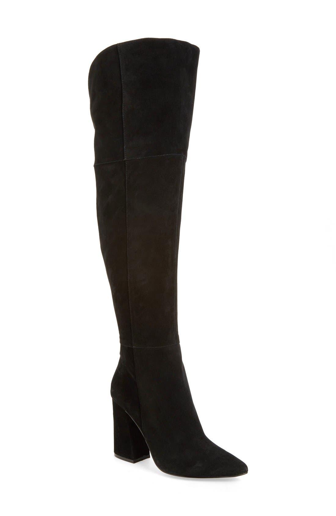 'Saffron' Over the Knee Boot,                         Main,                         color, BLACK SUEDE