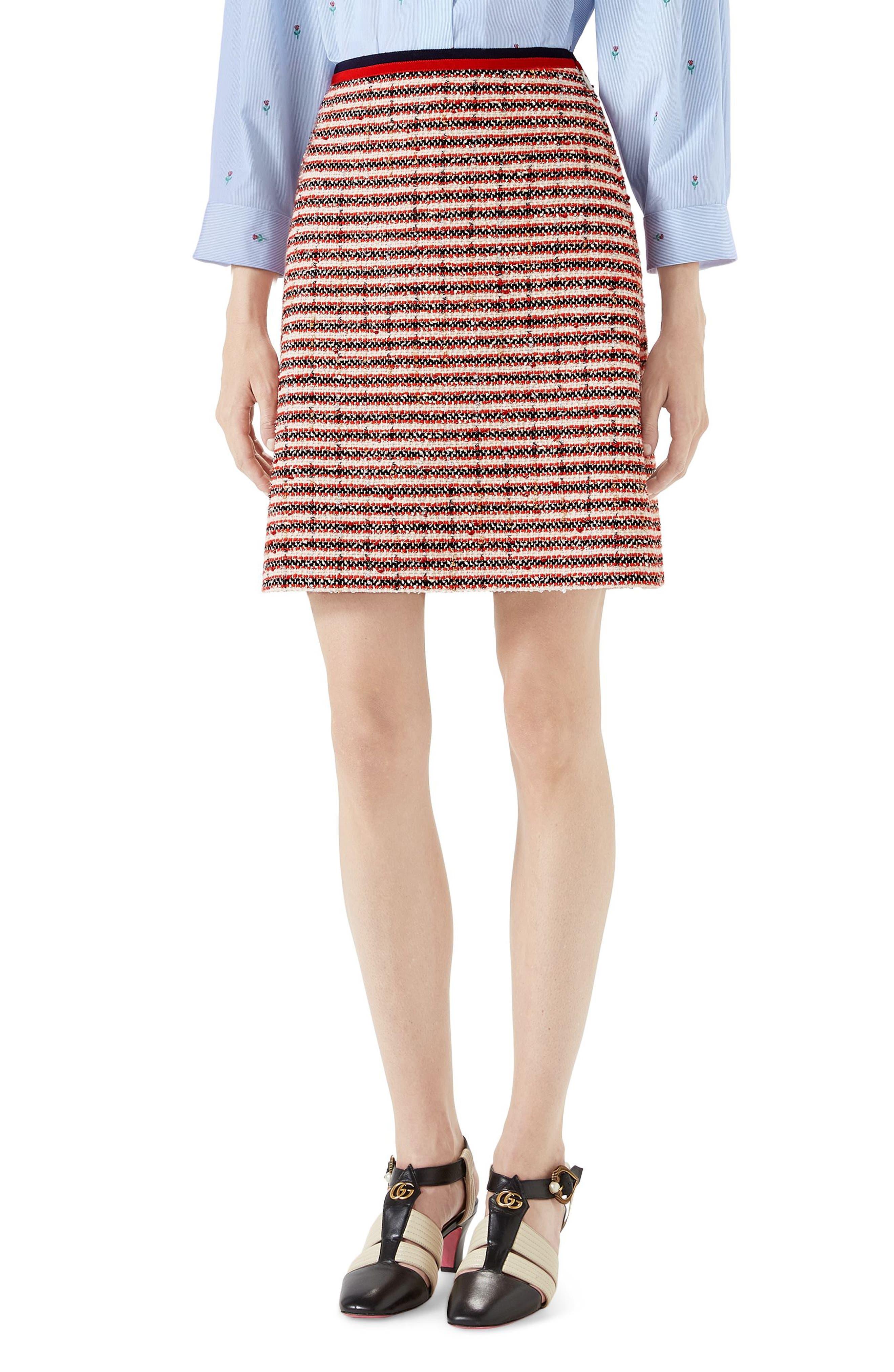 Stripe Tweed A-Line Skirt,                             Main thumbnail 1, color,                             108