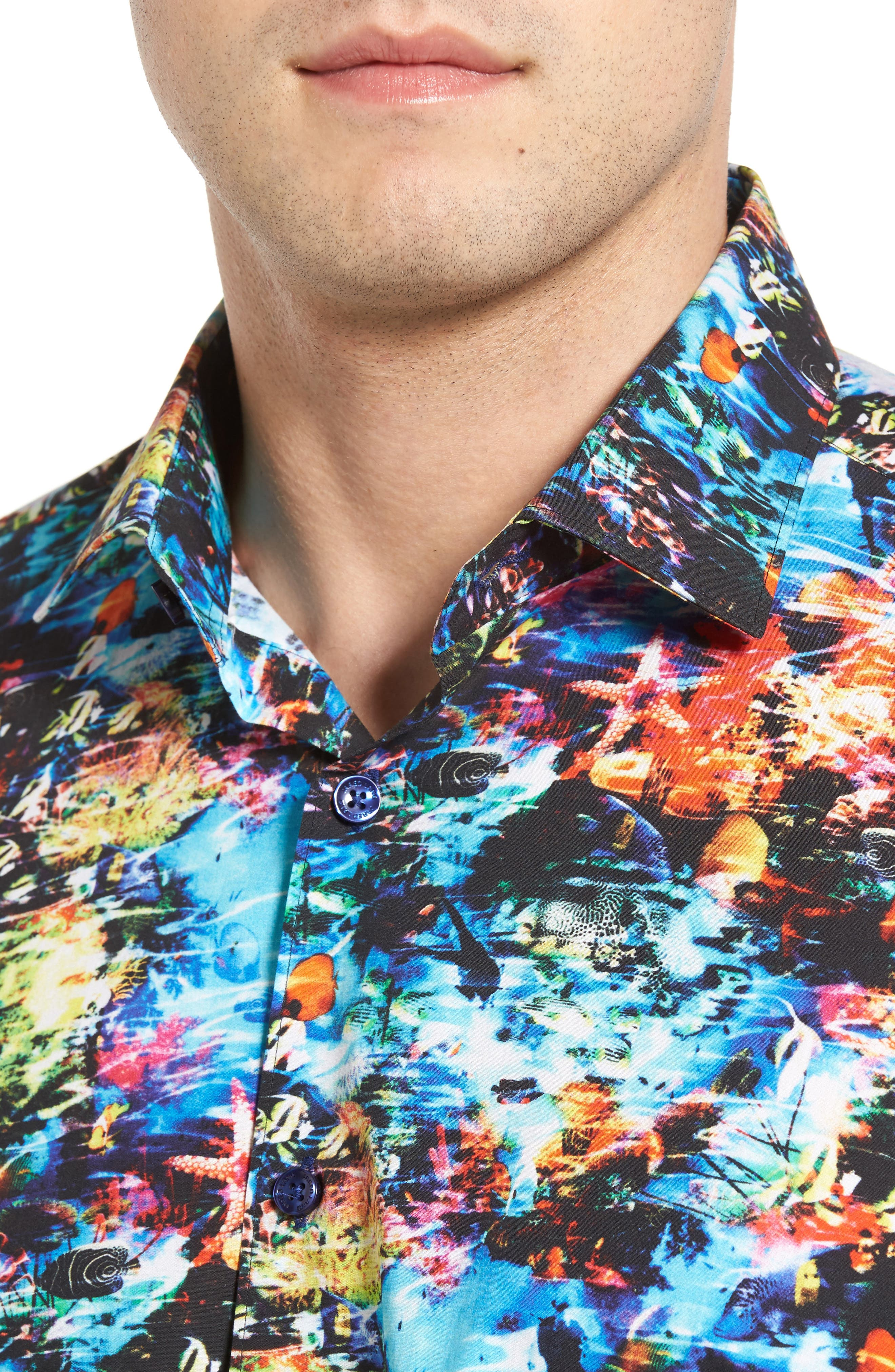 Trim Fit Print Sport Shirt,                             Alternate thumbnail 4, color,                             440