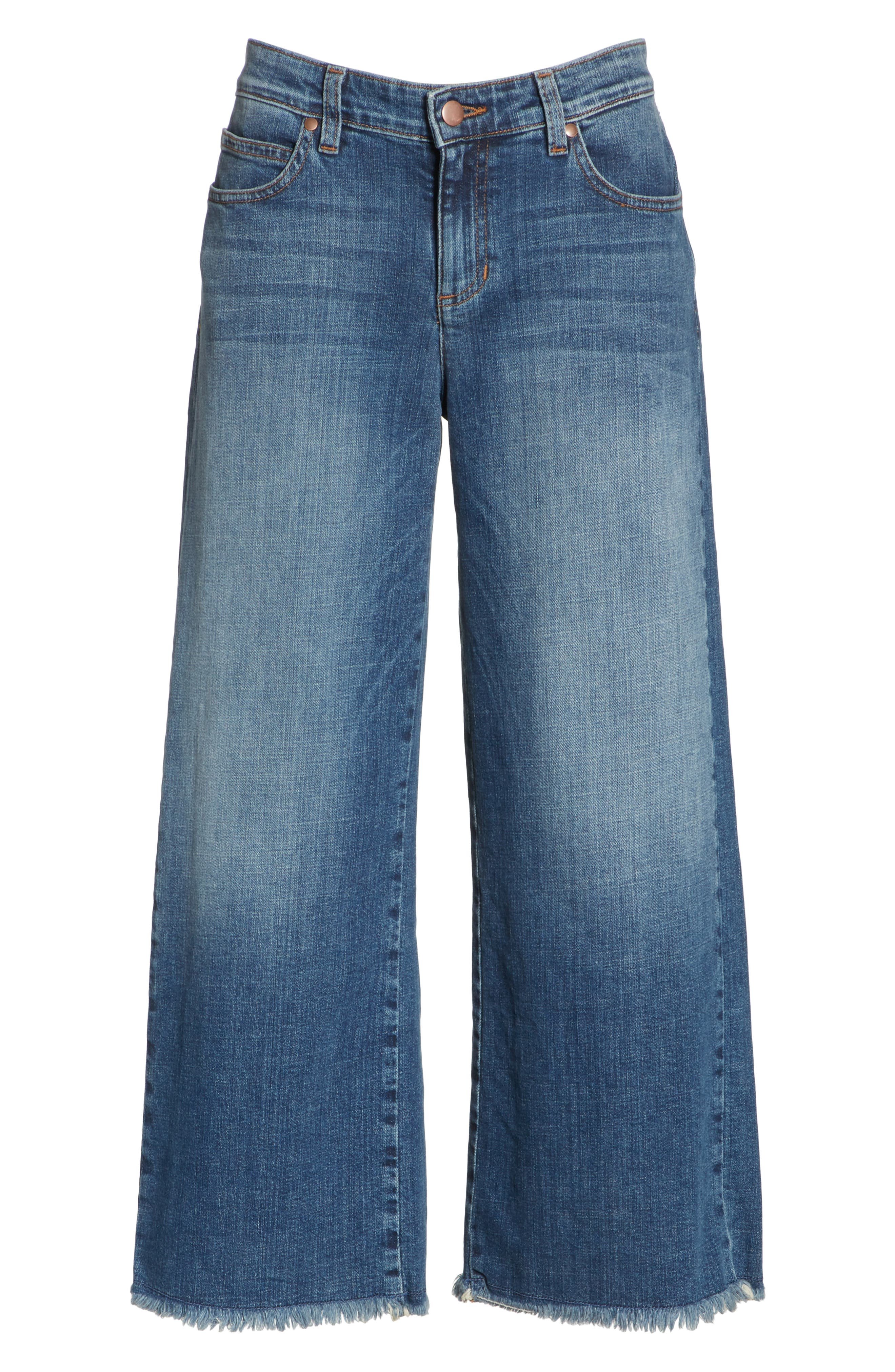 Frayed Wide Leg Ankle Jeans,                             Alternate thumbnail 7, color,                             417