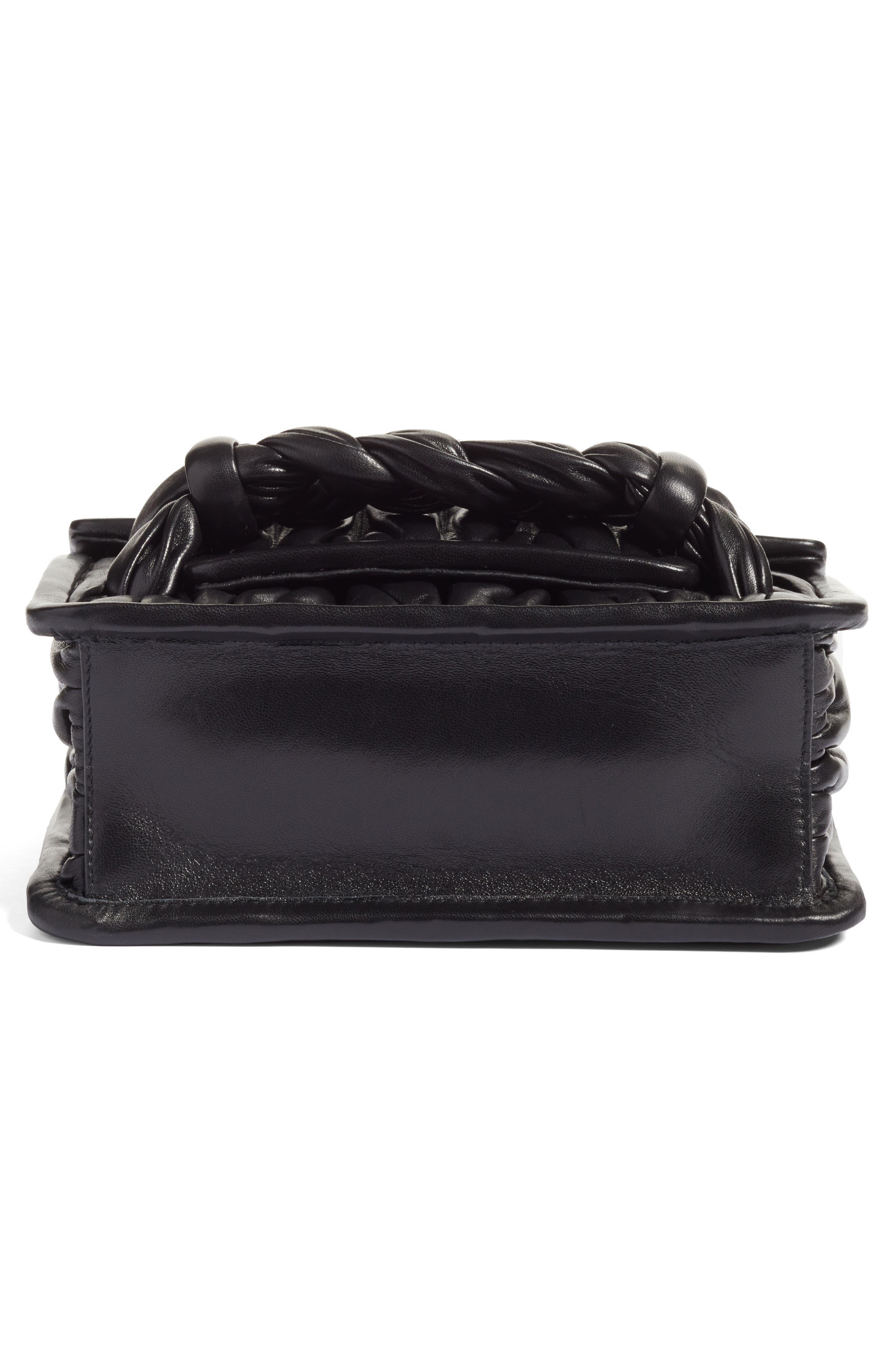 Matelassé Leather Shoulder Bag,                             Alternate thumbnail 6, color,                             001