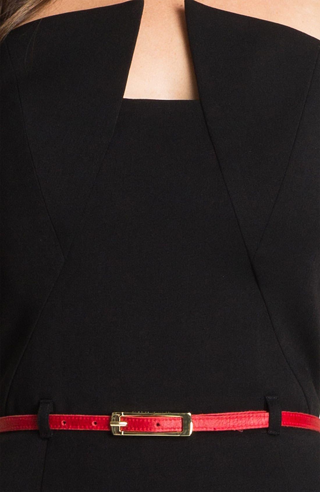 'Lena' Notch Neck Belted Sheath Dress,                             Alternate thumbnail 3, color,                             001