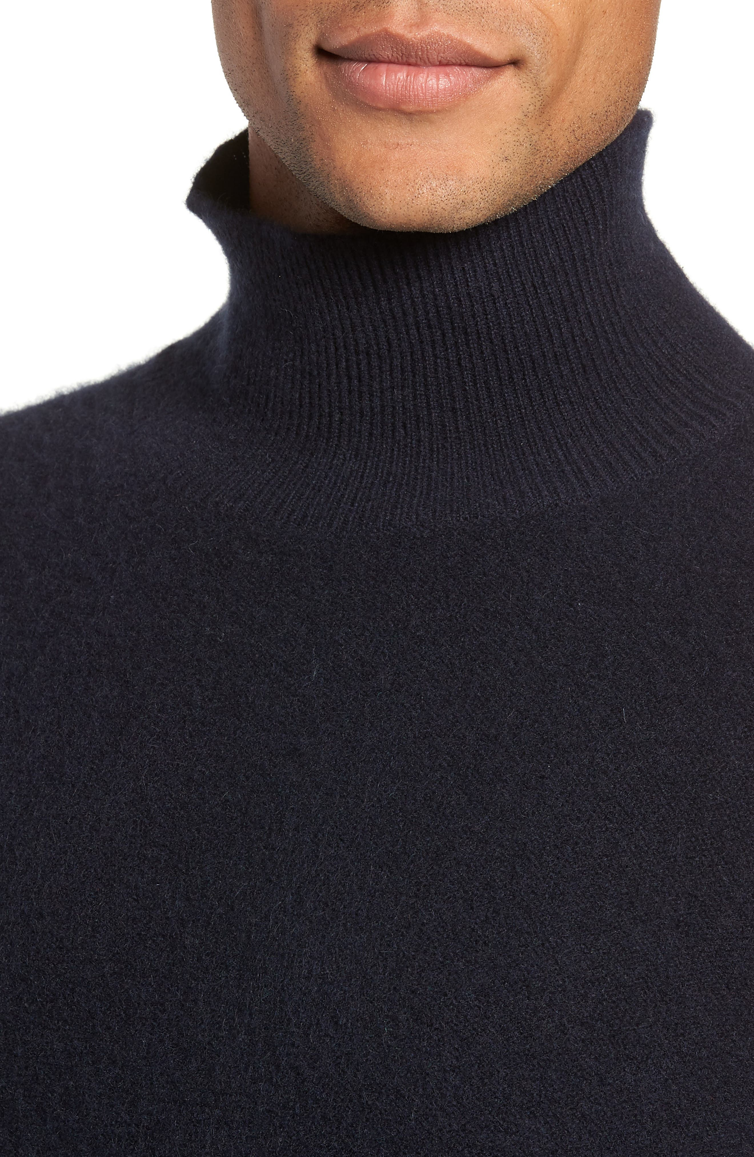 Ribbed Cashmere Turtleneck Sweater,                             Alternate thumbnail 4, color,                             COASTAL
