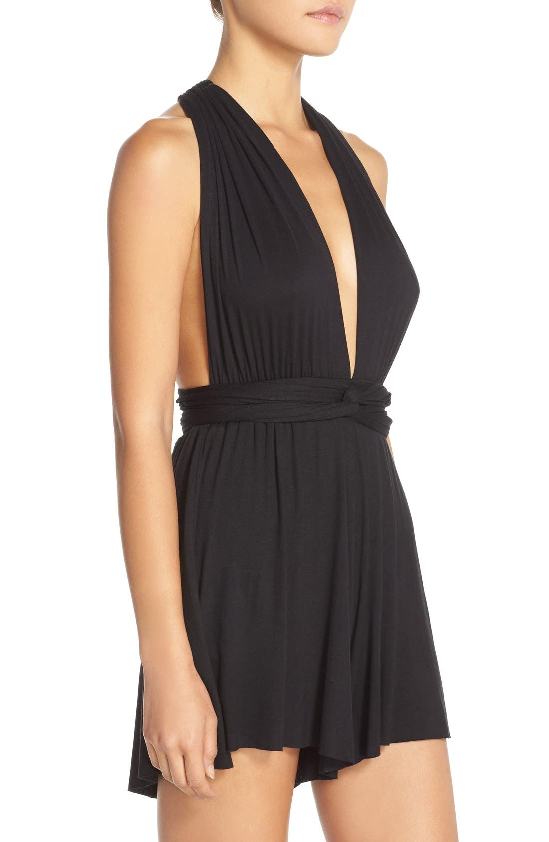 Convertible Cover-Up Romper,                             Alternate thumbnail 6, color,                             001