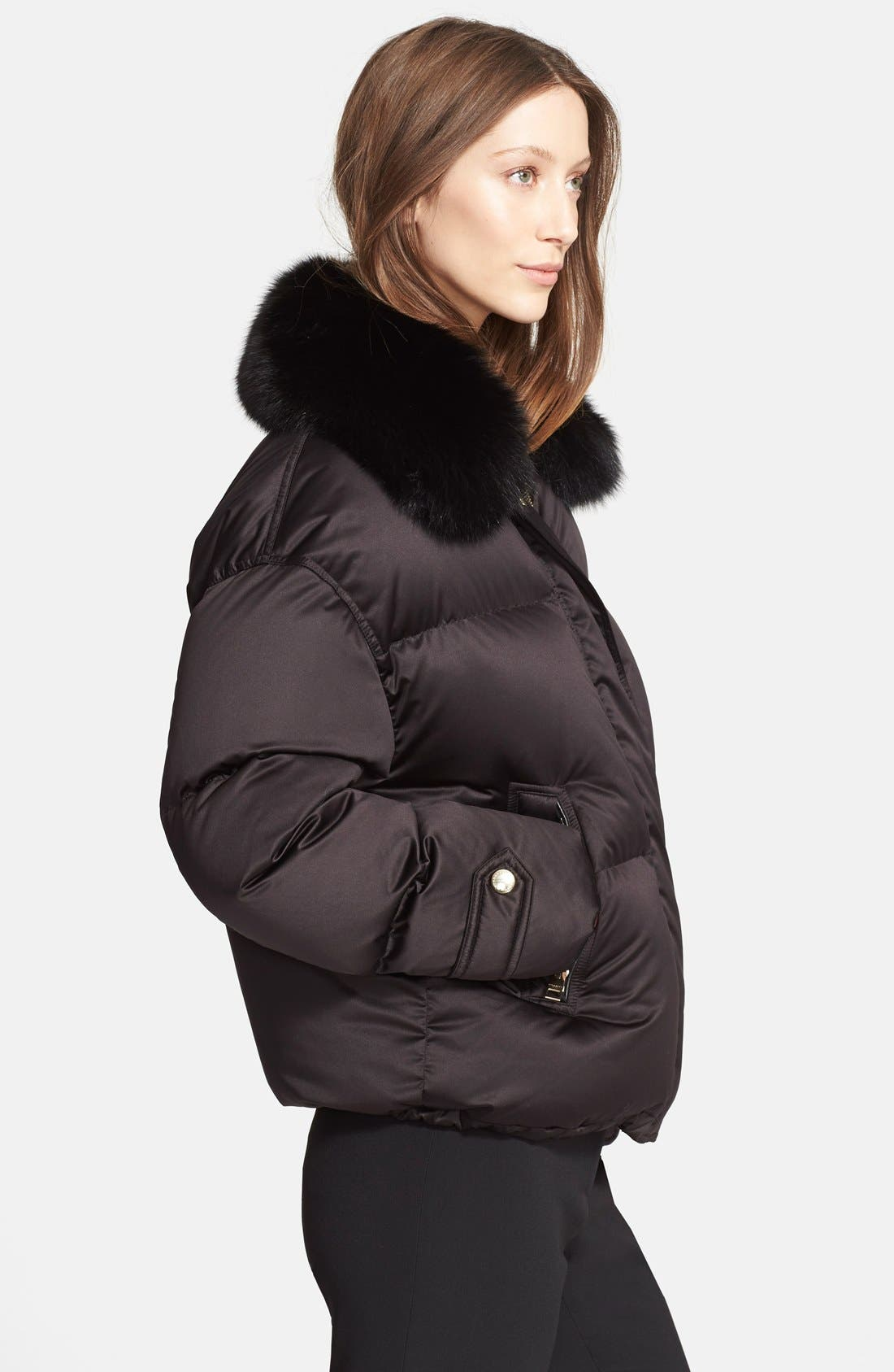 Goose Down Puffer Jacket with Removable Genuine Fox Fur Collar,                             Alternate thumbnail 2, color,                             001