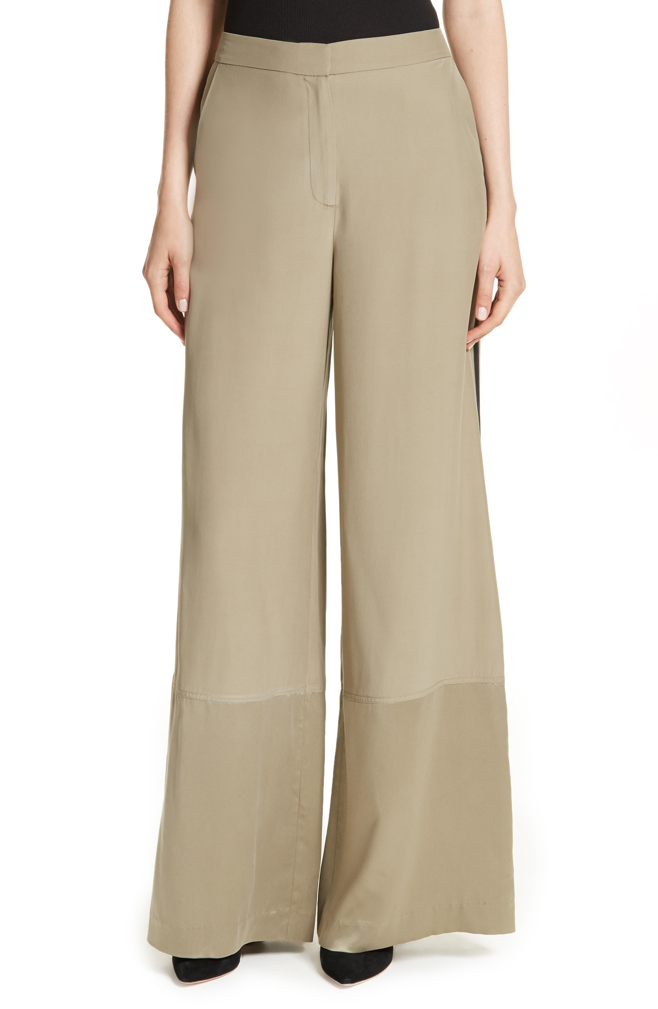 Satin Contrast Wide Leg Silk Pants,                         Main,                         color, 300
