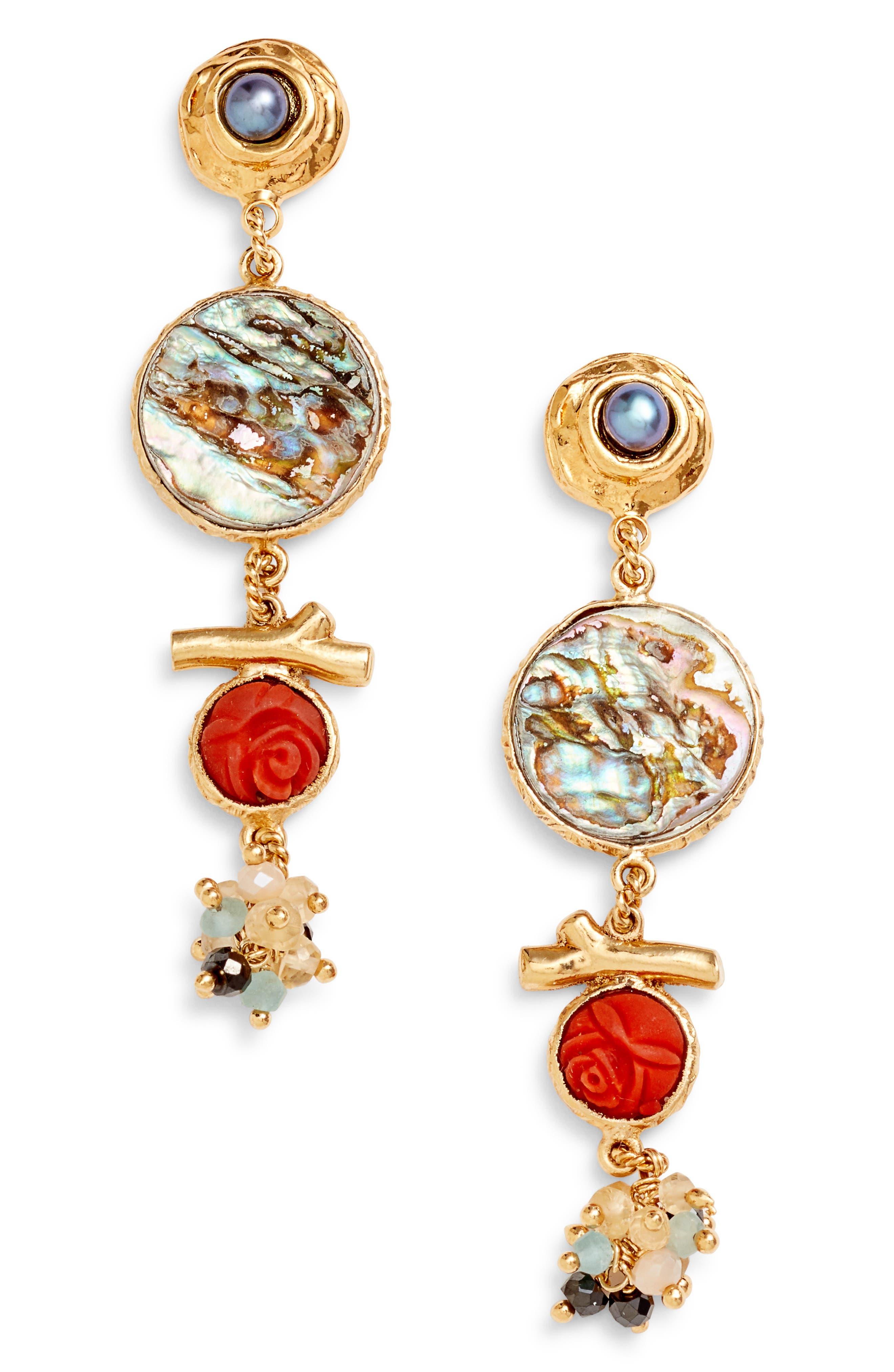 Beaded Drop Earrings,                         Main,                         color, 300