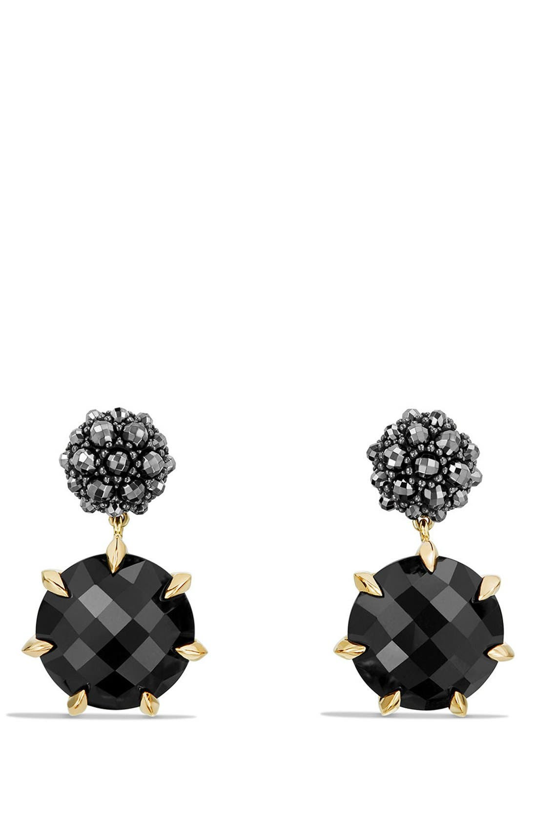 Cable Berries Drop Earrings with 18K Gold,                             Main thumbnail 1, color,                             BLACK ONYX/ HEMATINE