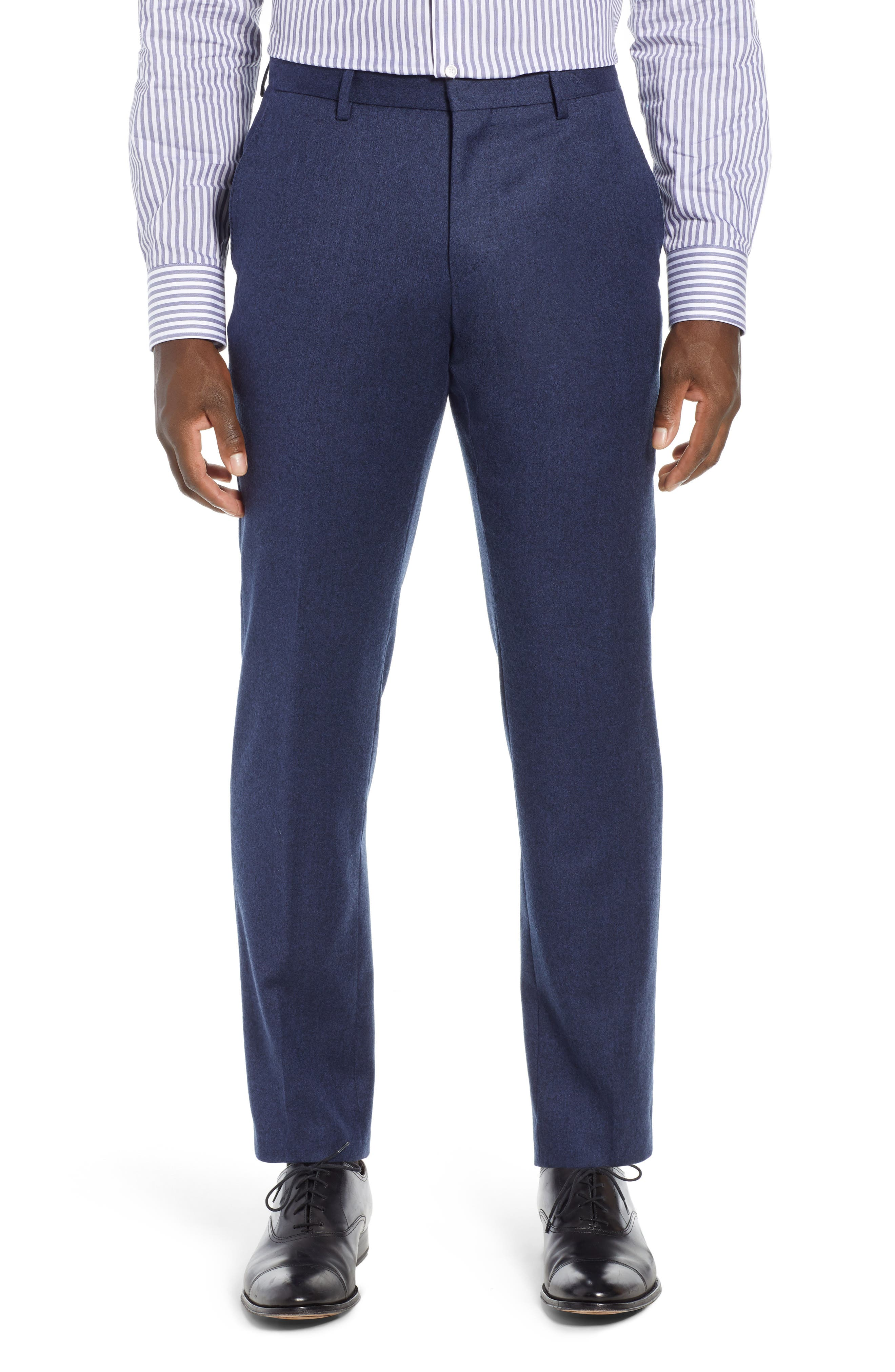 Gains Flat Front Solid Wool Trousers,                             Main thumbnail 1, color,                             DARK BLUE
