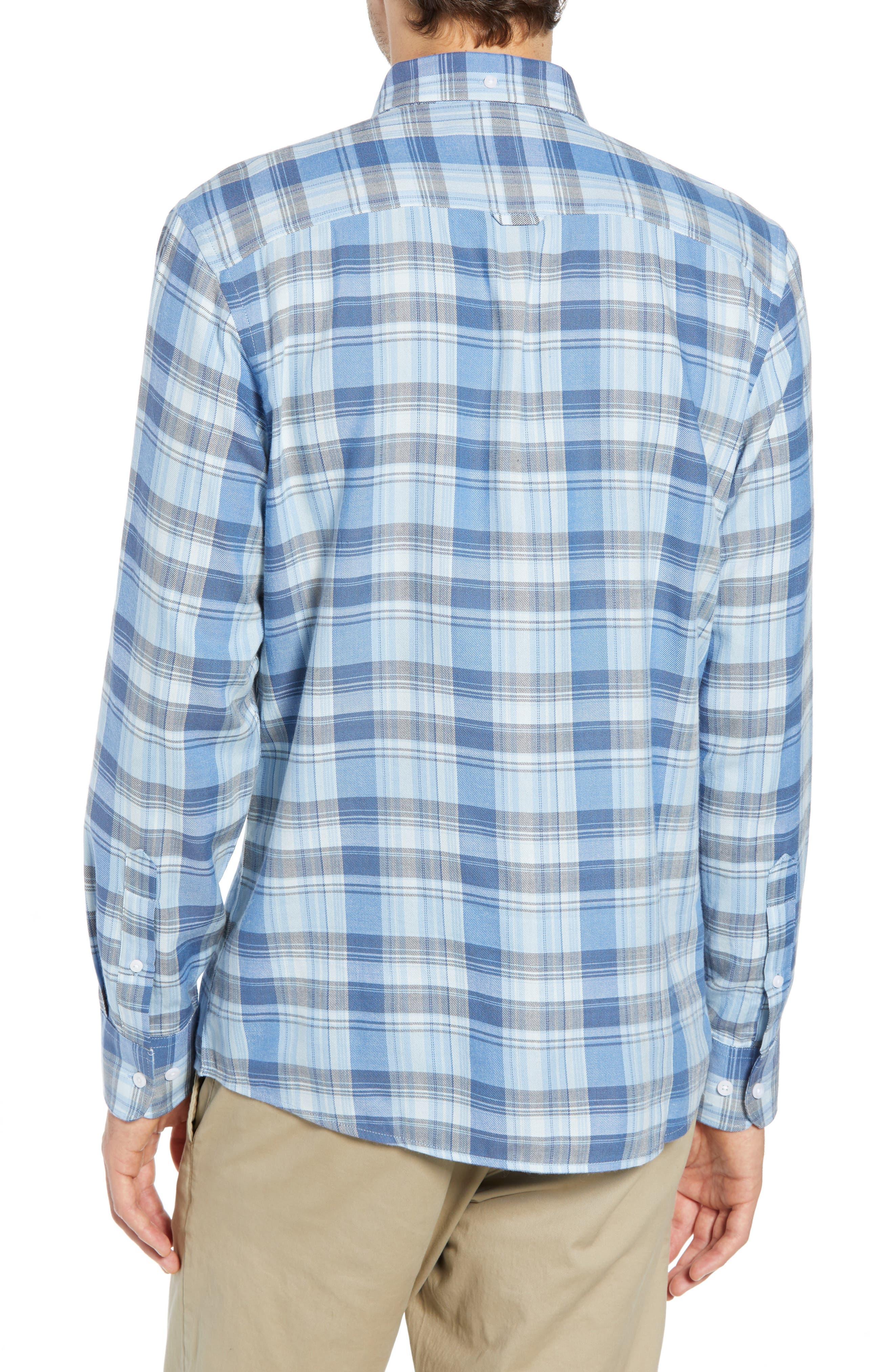 Slim Fit Plaid Sport Shirt,                             Alternate thumbnail 3, color,                             BLUE CHAMBRAY BLUE DARK PLAID