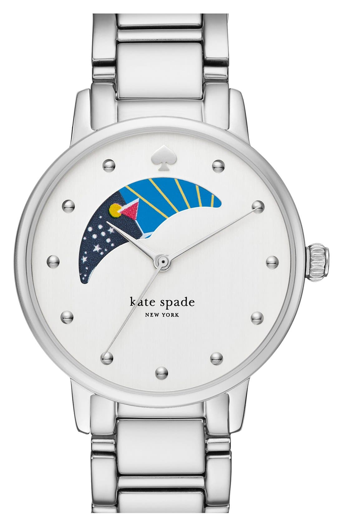 'gramercy' moon phase bracelet watch, 34mm, Main, color, 040