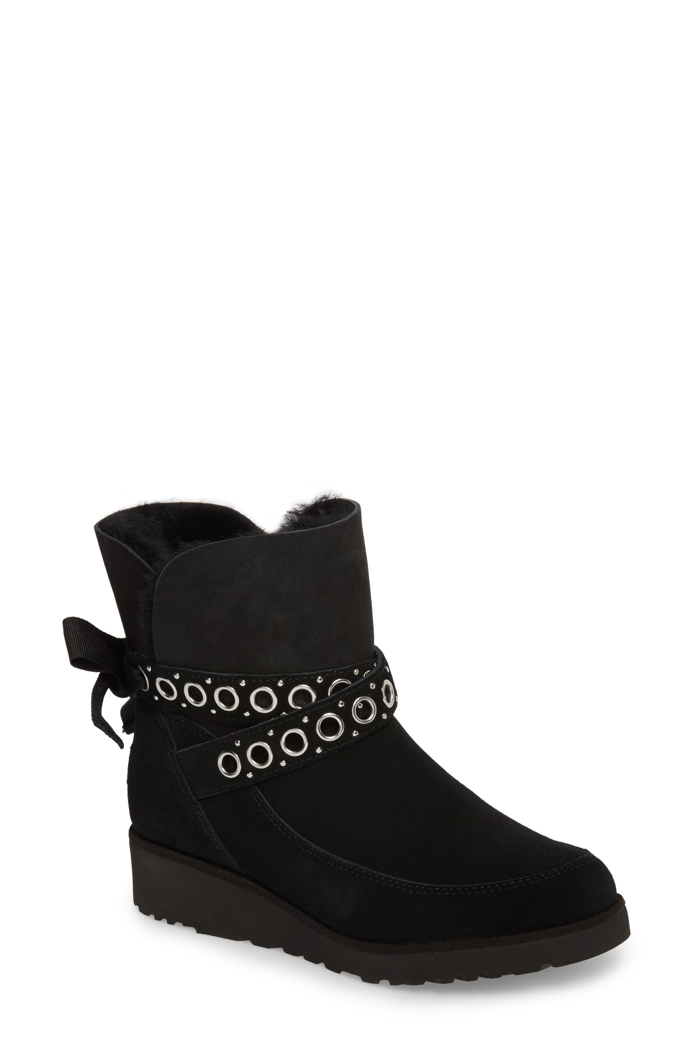 Alisia Grommet Bow Boot,                             Main thumbnail 1, color,                             001