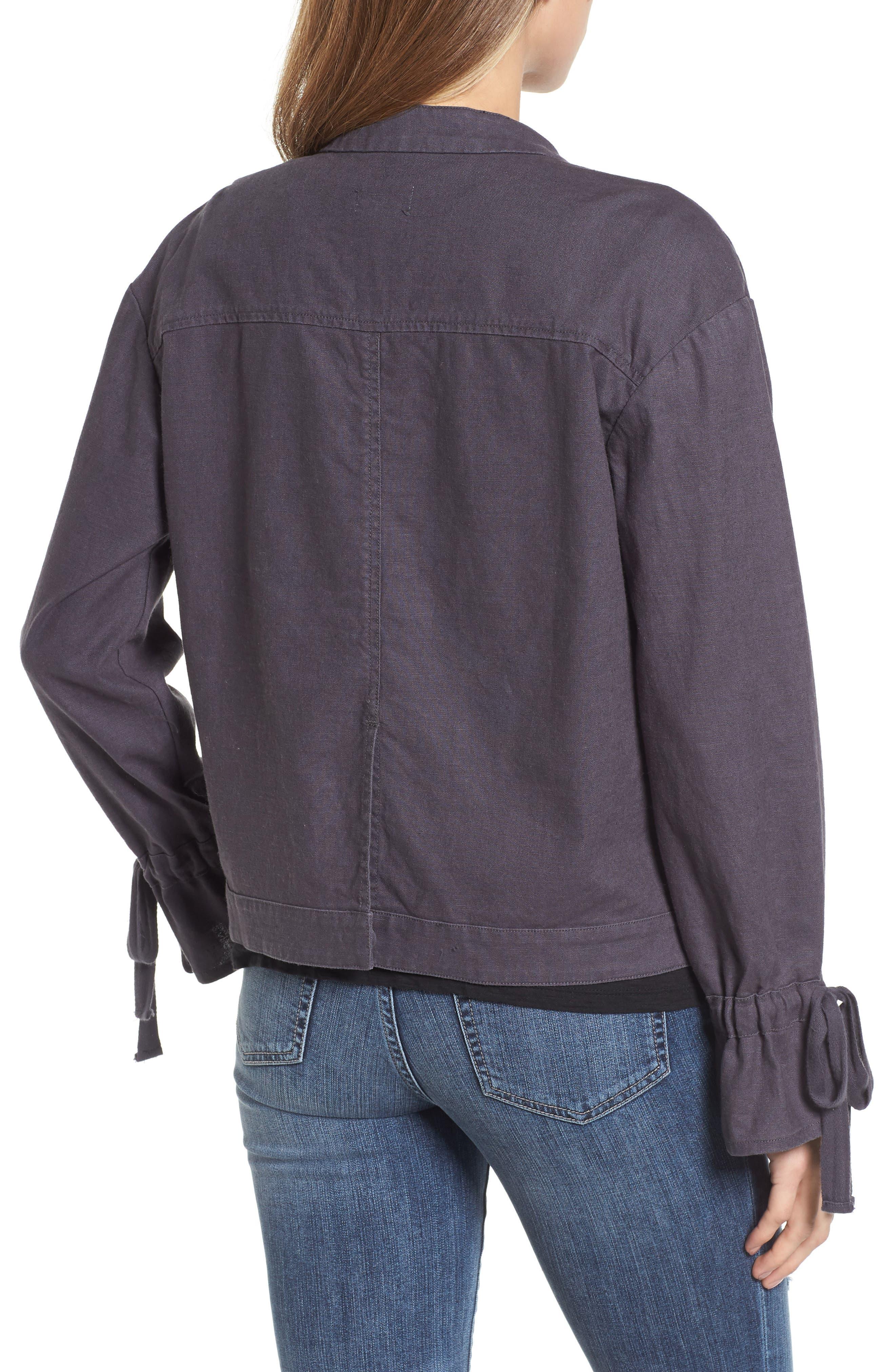 Tie Sleeve Linen & Cotton Jacket,                             Alternate thumbnail 2, color,                             030
