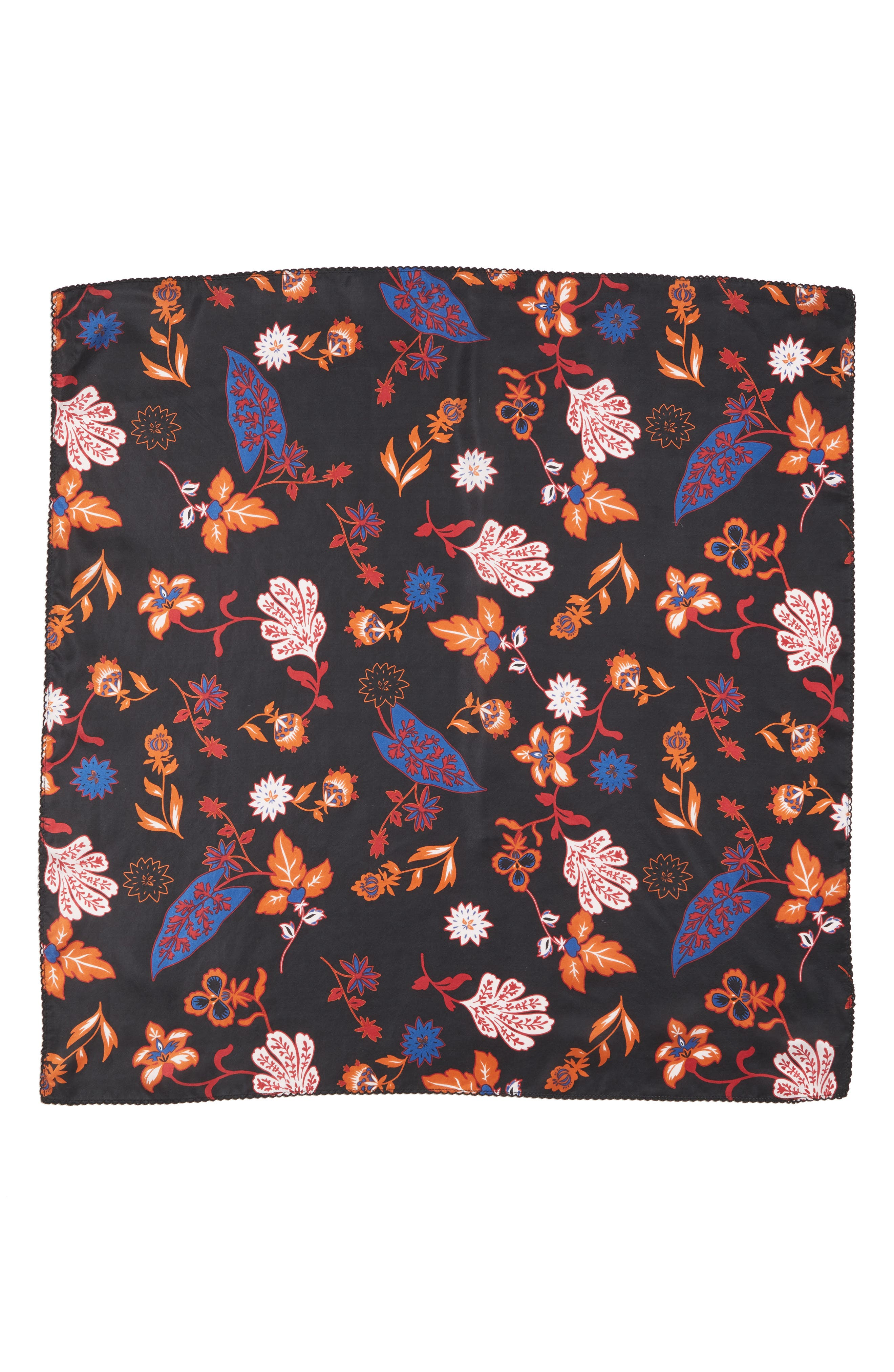 Funky Foliage Square Silk Scarf,                             Alternate thumbnail 3, color,                             001