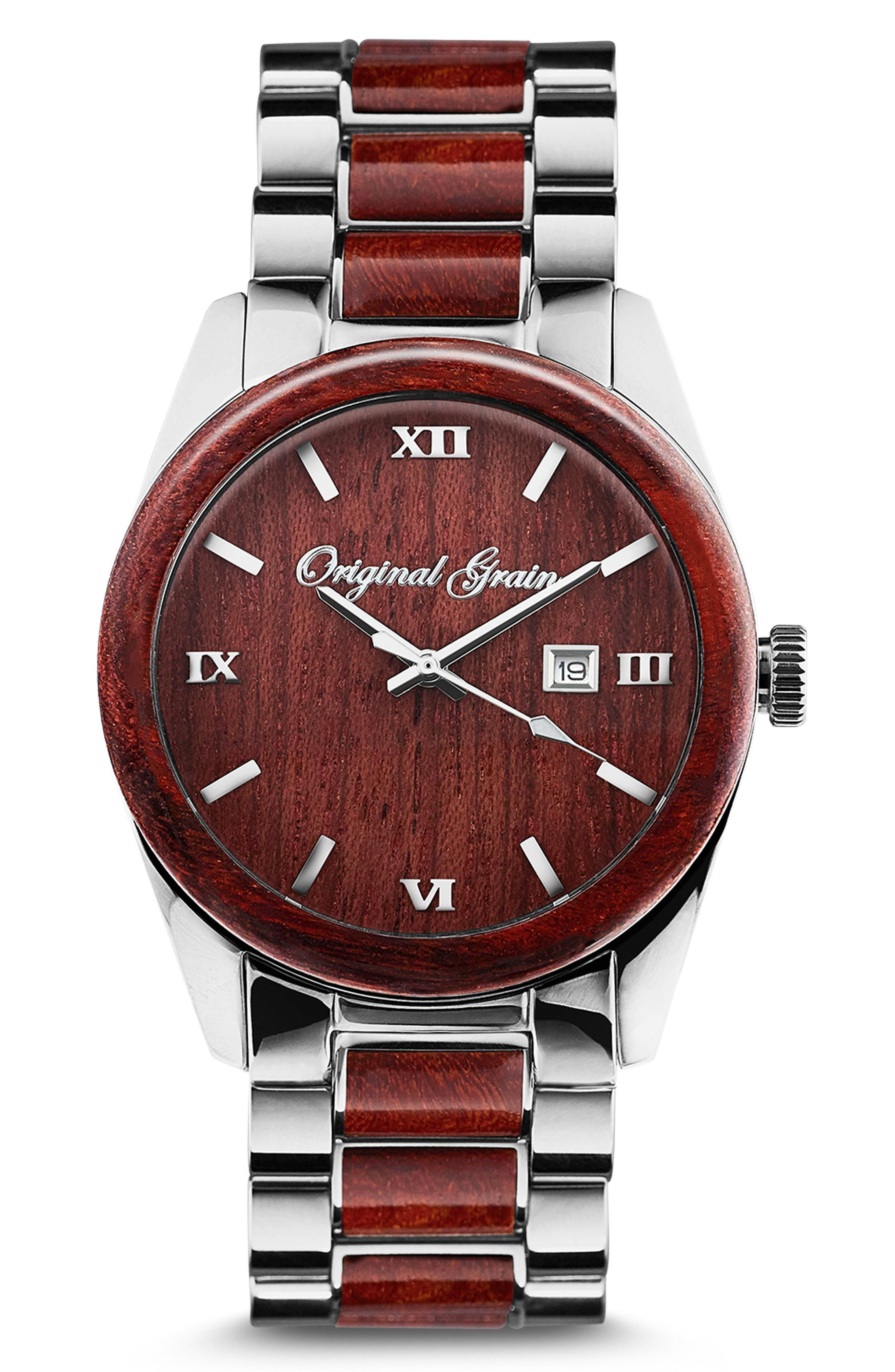 Rosewood Chrome Classic Bracelet Watch, 43mm,                             Main thumbnail 1, color,                             ROSEWOOD/ CHROME