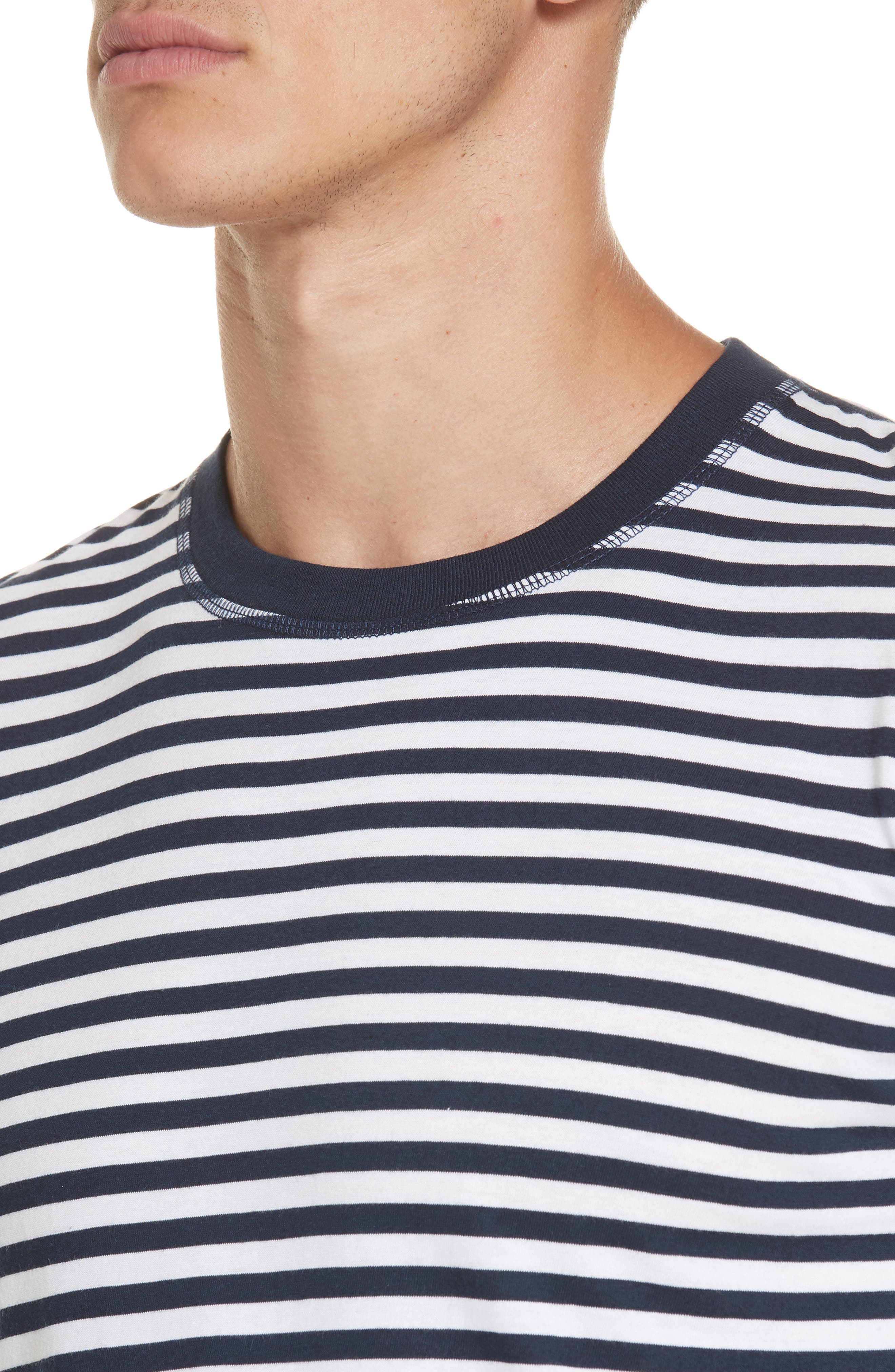 Norse Project Niels Classic Stripe T-Shirt,                             Alternate thumbnail 4, color,                             BLUE