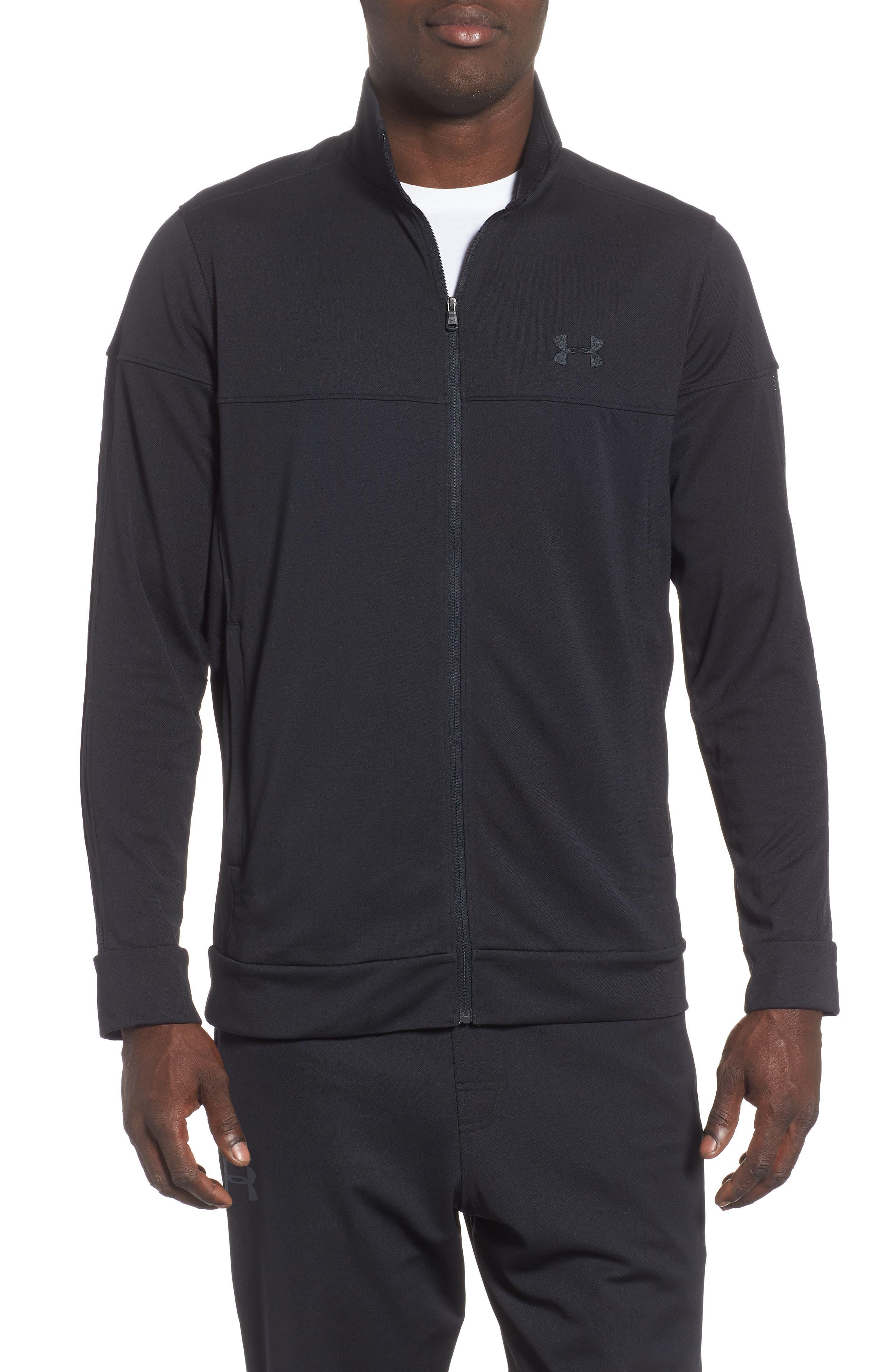 Sportstyle Piqué Track Jacket,                             Main thumbnail 1, color,                             BLACK / / BLACK