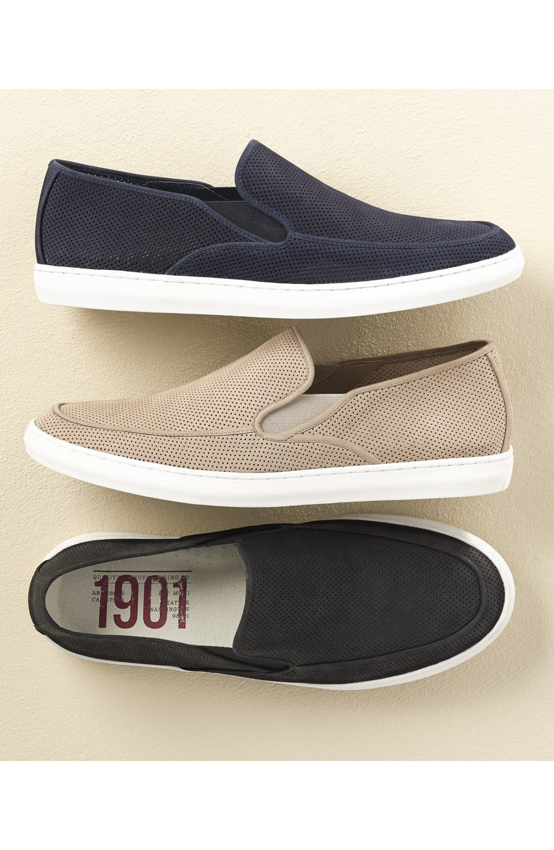 'Venice' Perforated Suede Slip-On,                             Alternate thumbnail 9, color,                             BLACK NUBUCK