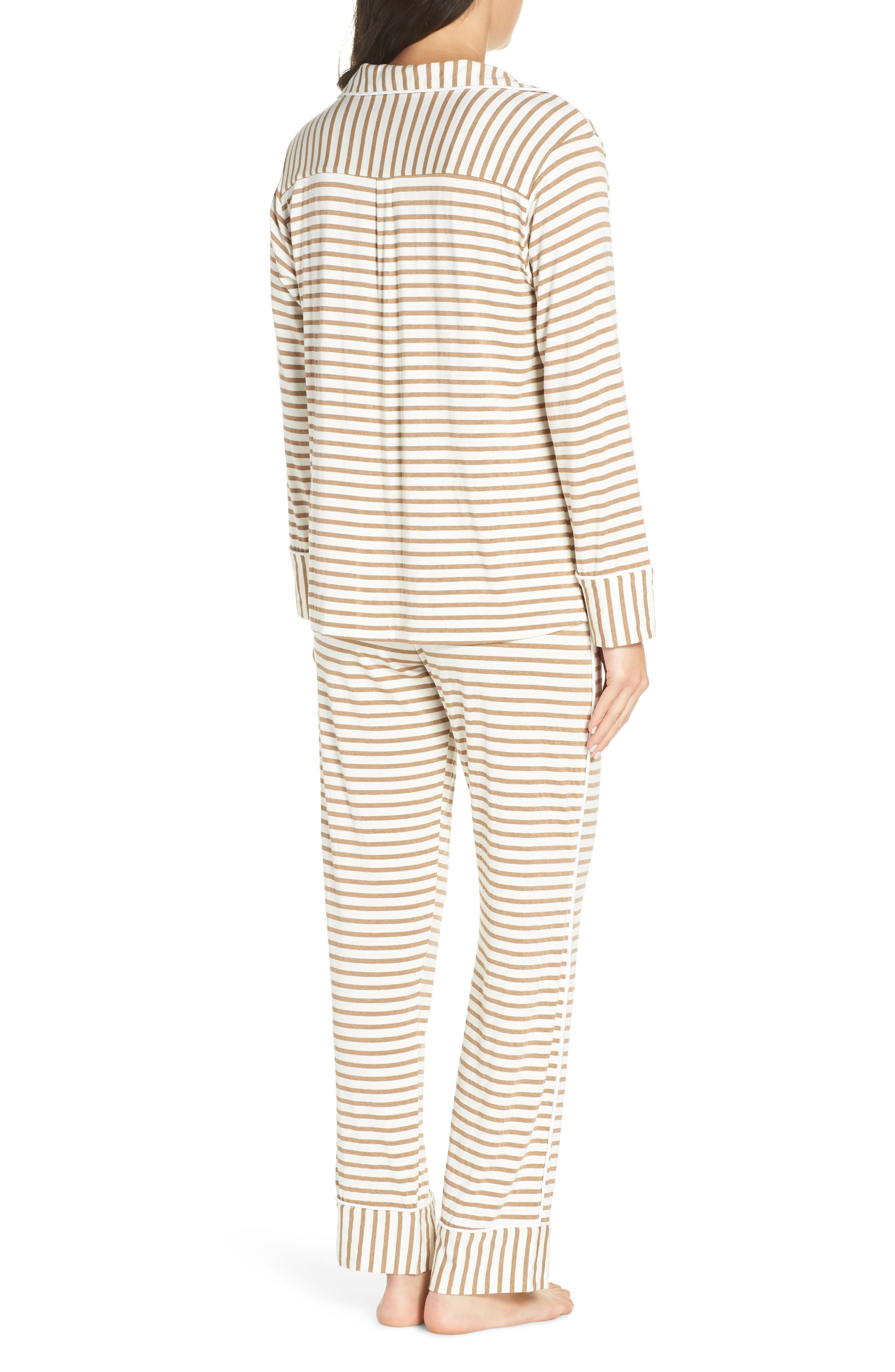 Monaco Pajamas,                             Alternate thumbnail 2, color,                             CAMEL STRIPE