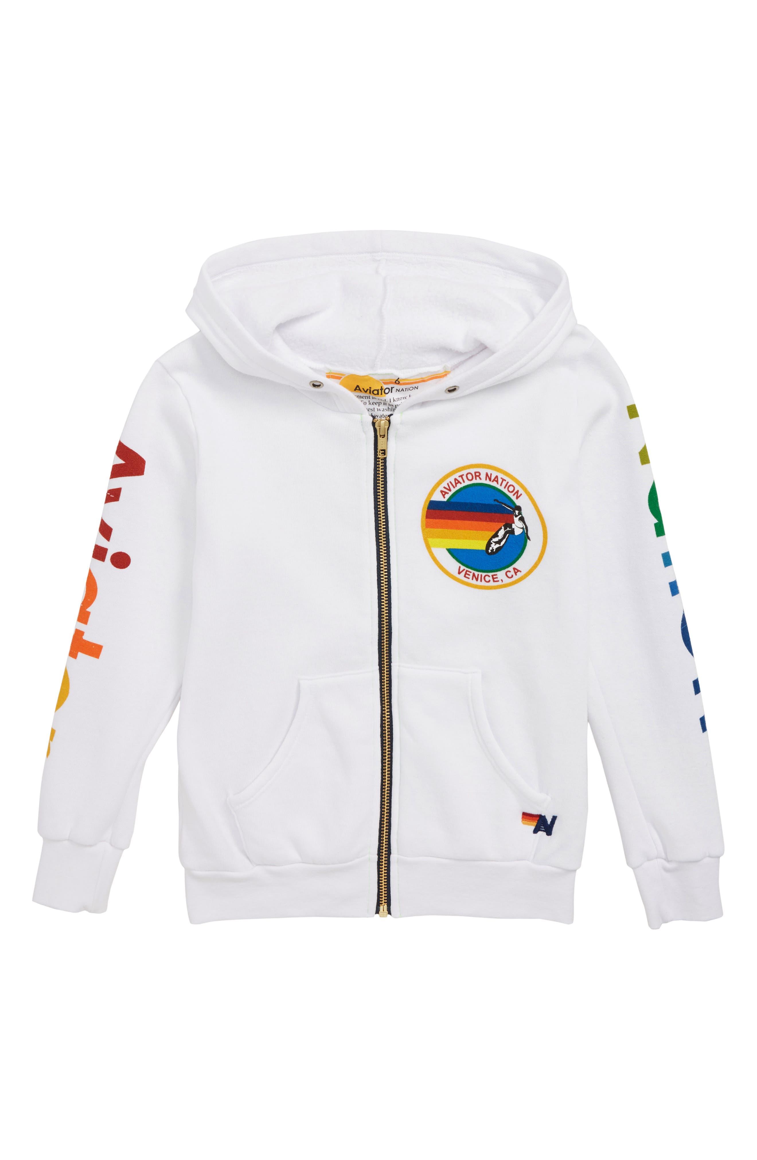 Logo Zip Hoodie,                         Main,                         color, WHITE