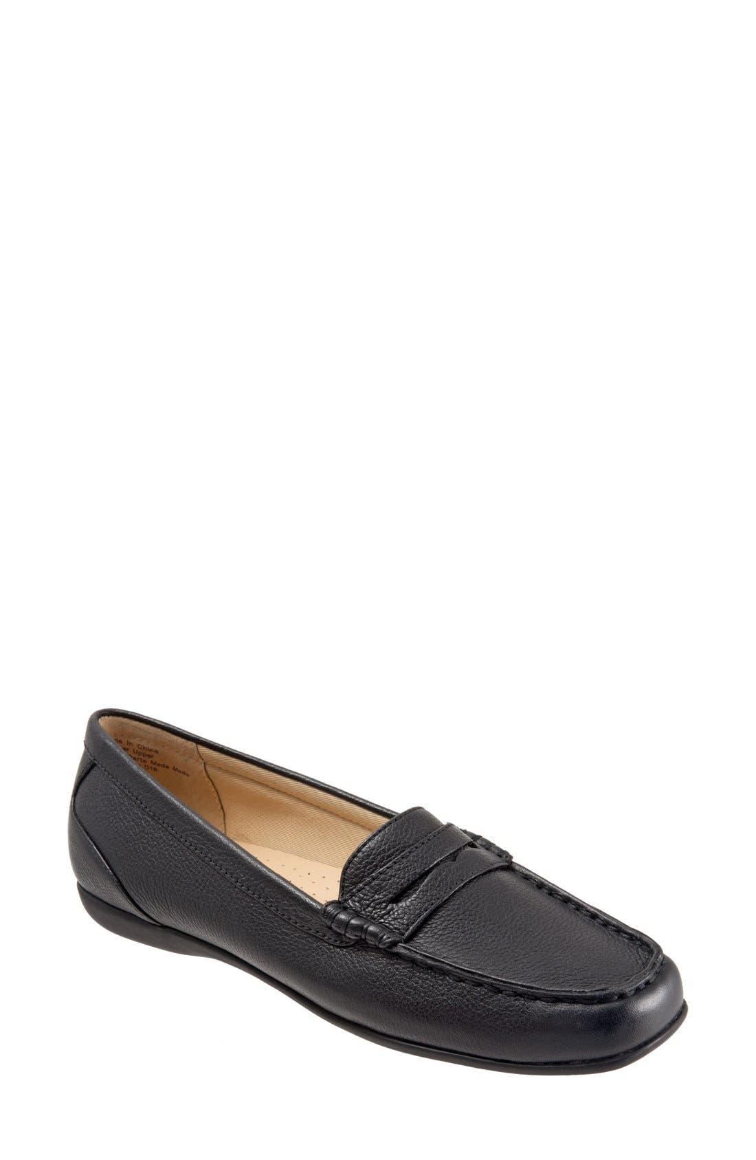 'Staci' Penny Loafer,                             Main thumbnail 1, color,                             BLACK LEATHER