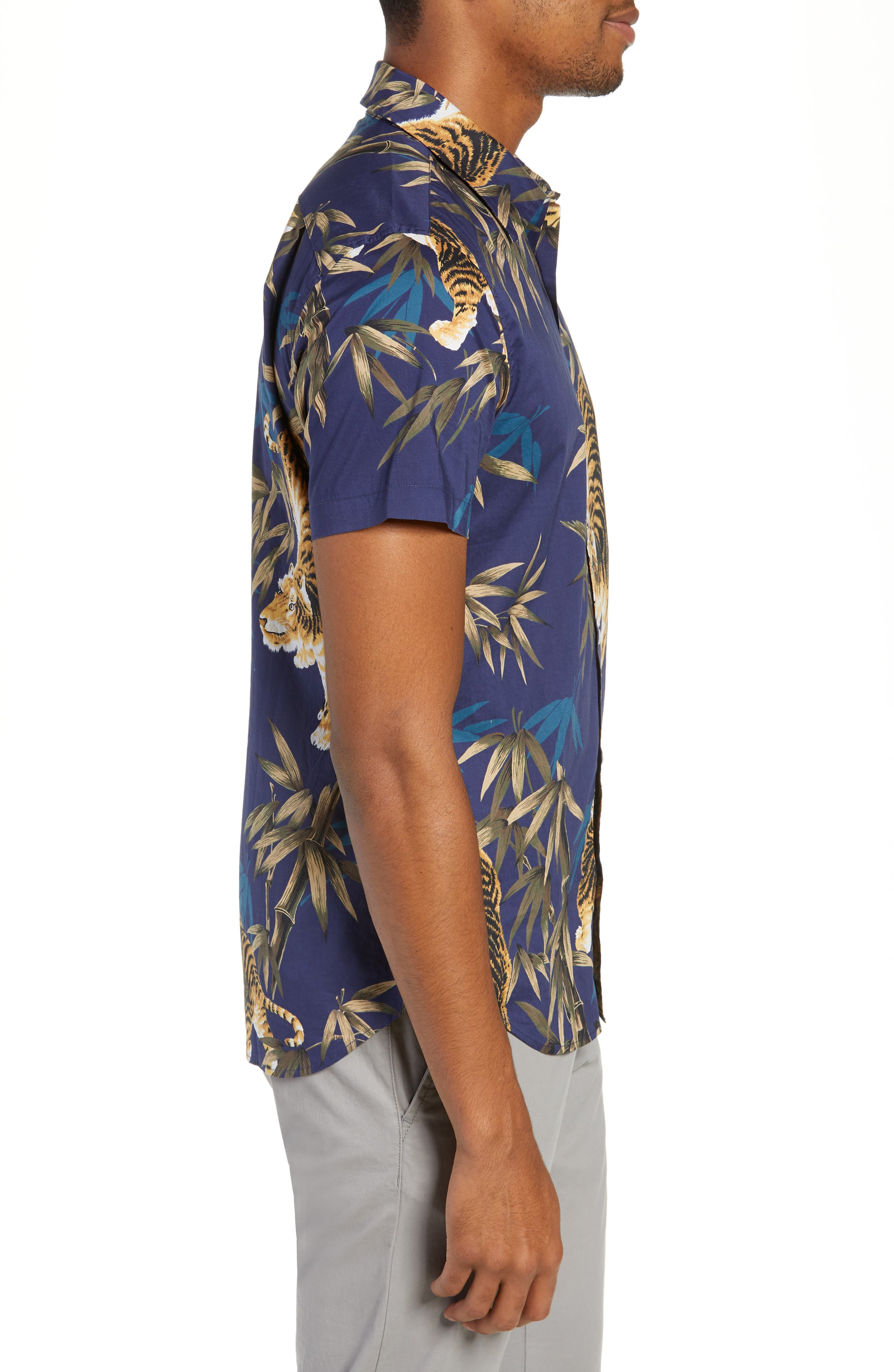 Riviera Slim Fit Tiger Print Sport Shirt,                             Alternate thumbnail 4, color,                             BAMBOO TIGER - VERDE