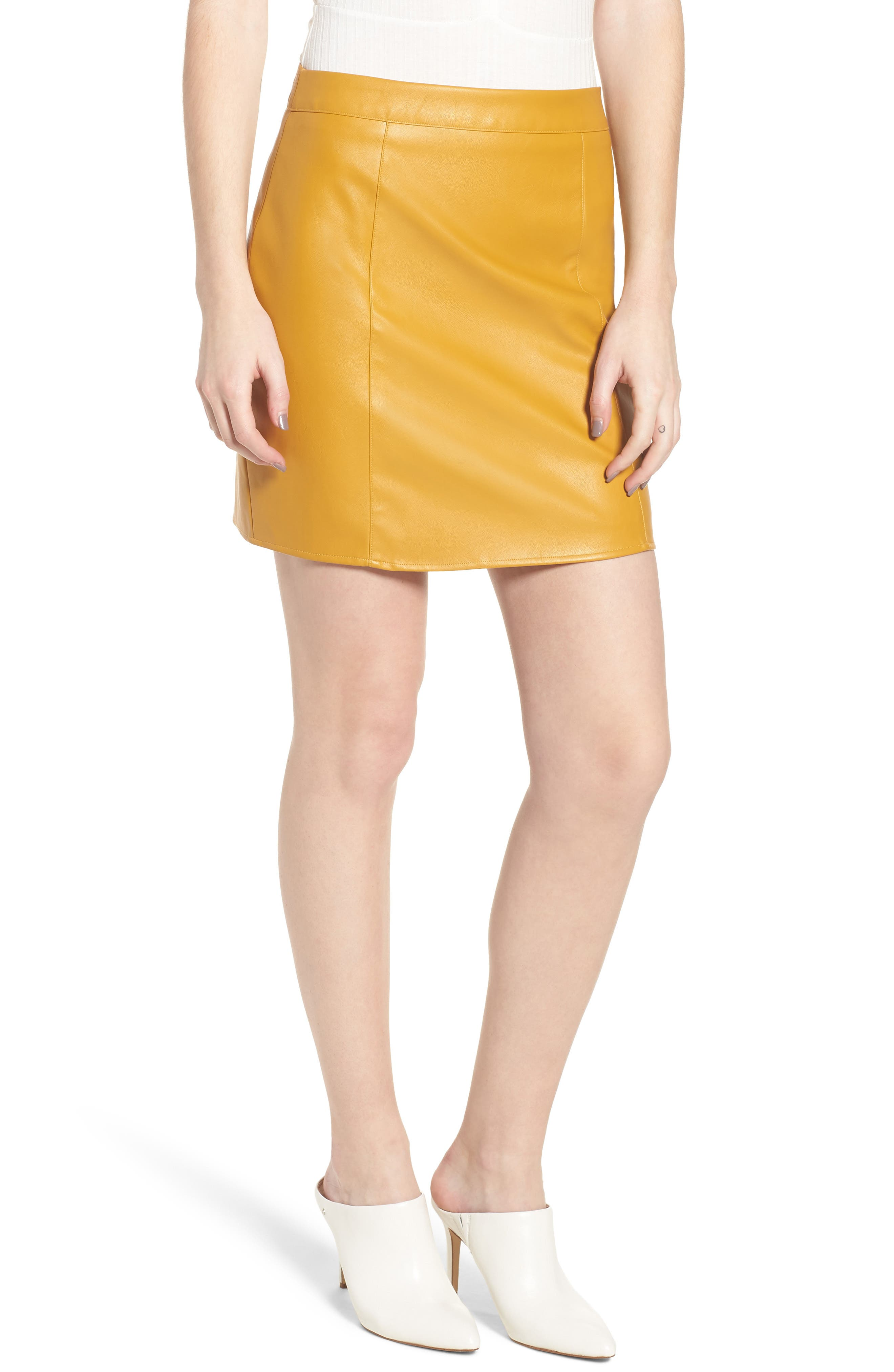 Bishop + Young Faux Leather Miniskirt,                             Main thumbnail 1, color,                             MUSTARD