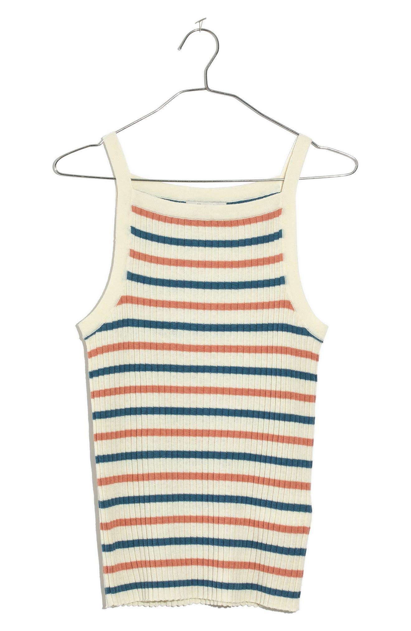 Stripe Apron Sweater Tank,                             Alternate thumbnail 3, color,                             100