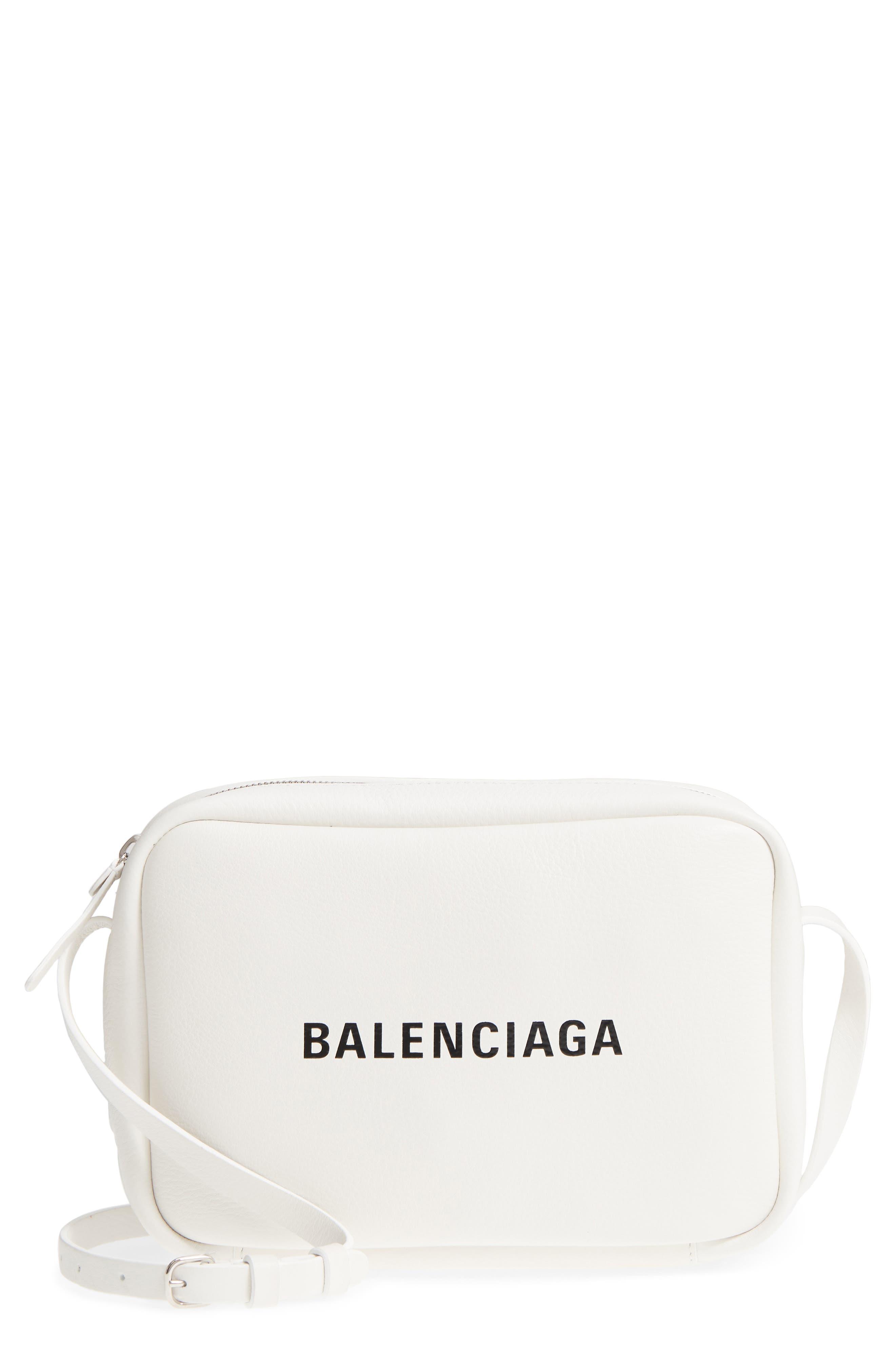 Small Everyday Calfskin Leather Camera Bag,                             Main thumbnail 1, color,                             BLANC OPTIQUE/ NOIR