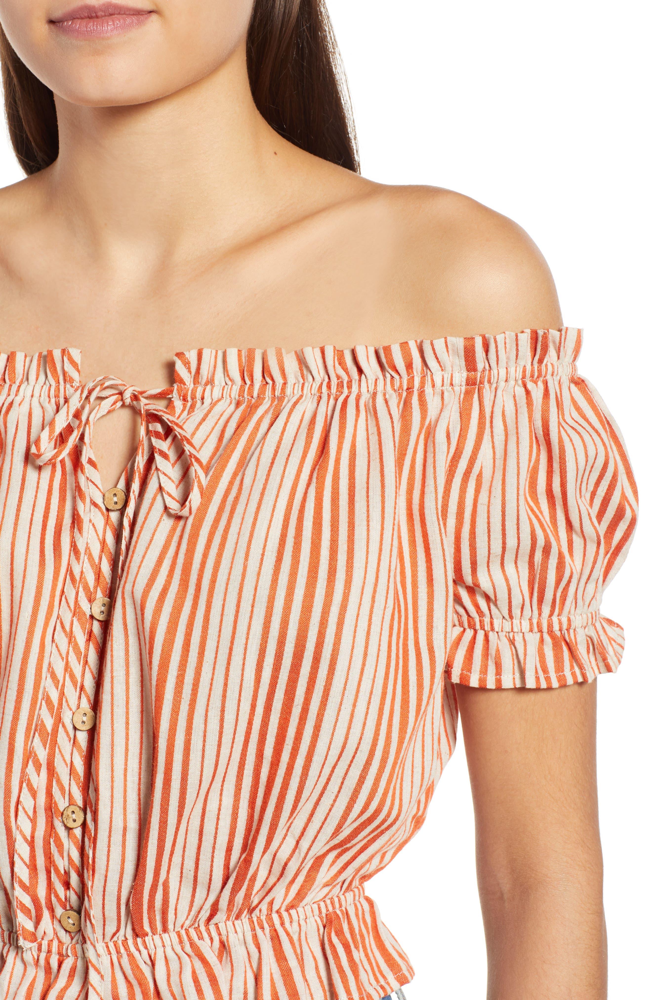Stripe Off the Shoulder Linen & Cotton Top,                             Alternate thumbnail 4, color,                             800